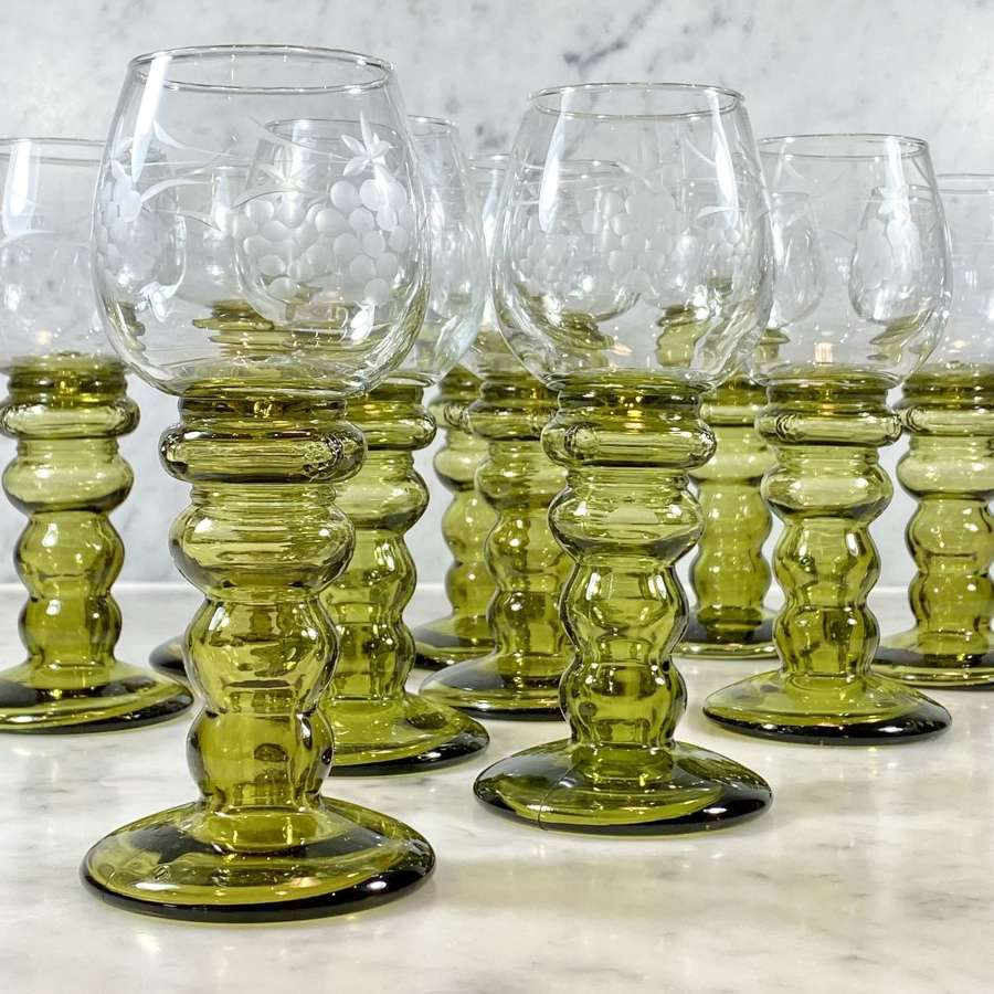 10 tall vine etched hollow stem Roemer wine glasses