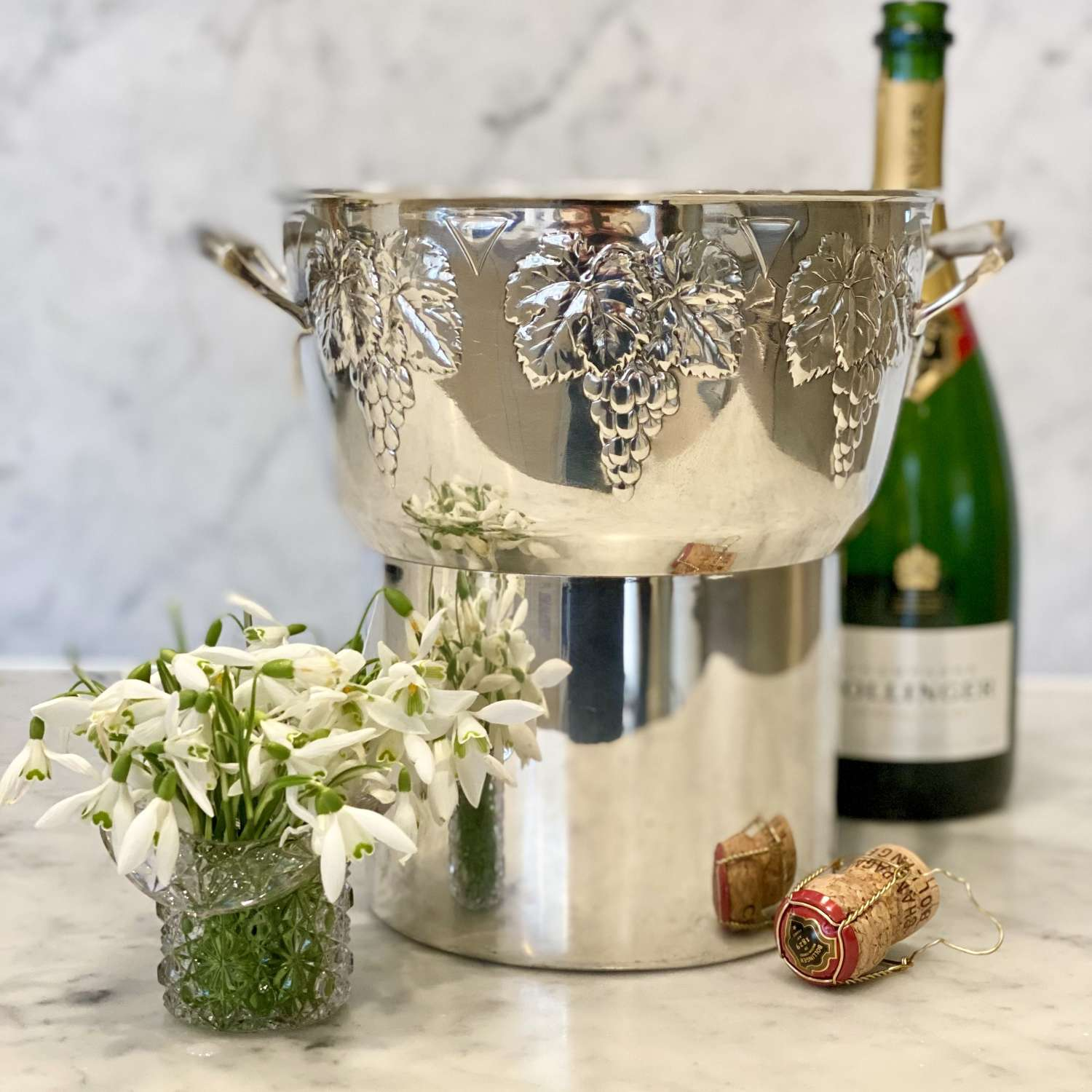 Mid 20th Century French silver plated champagne wine bucket cooler