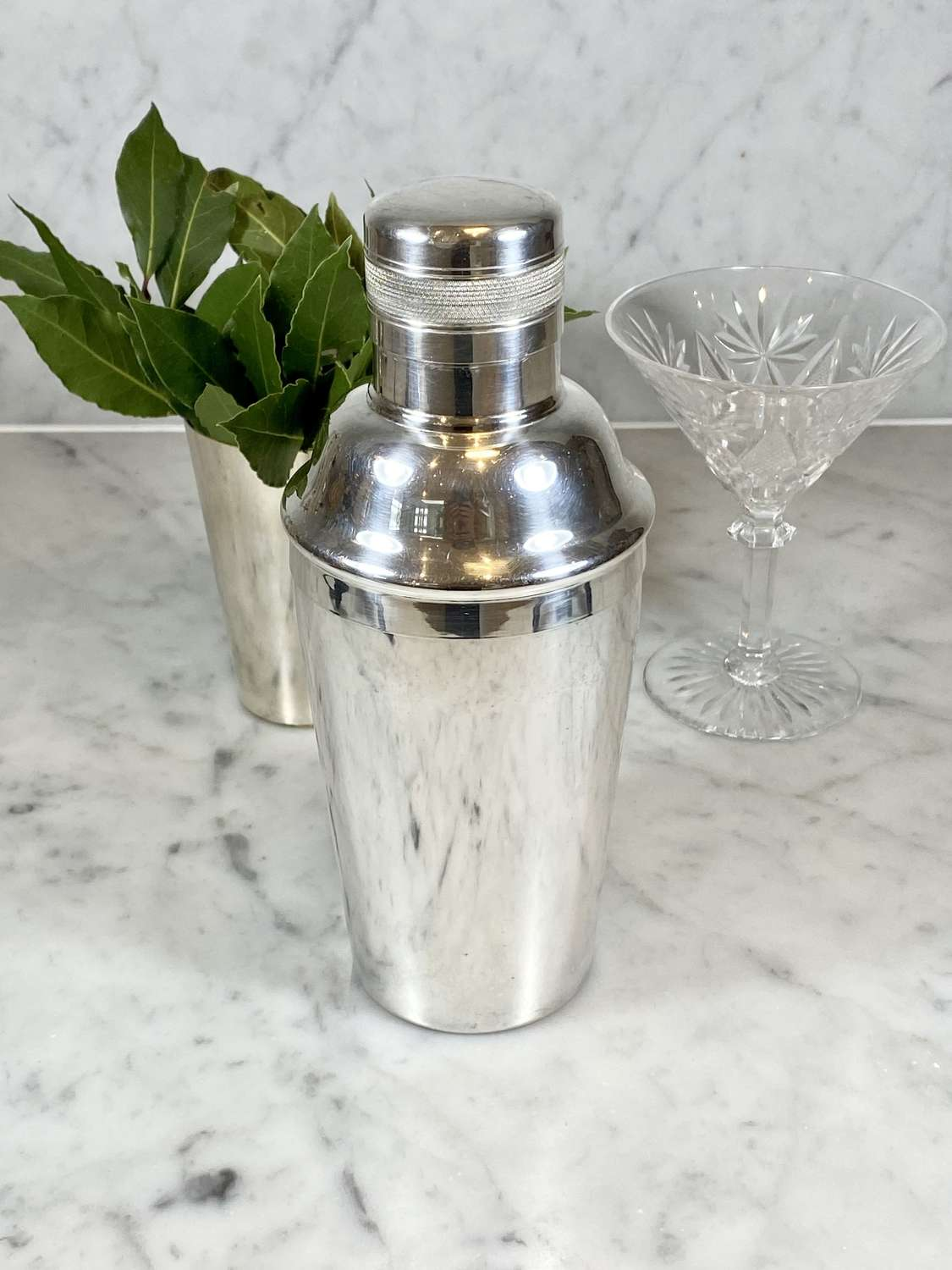 Art Deco silver plated engine turned cocktail shaker by Elkington