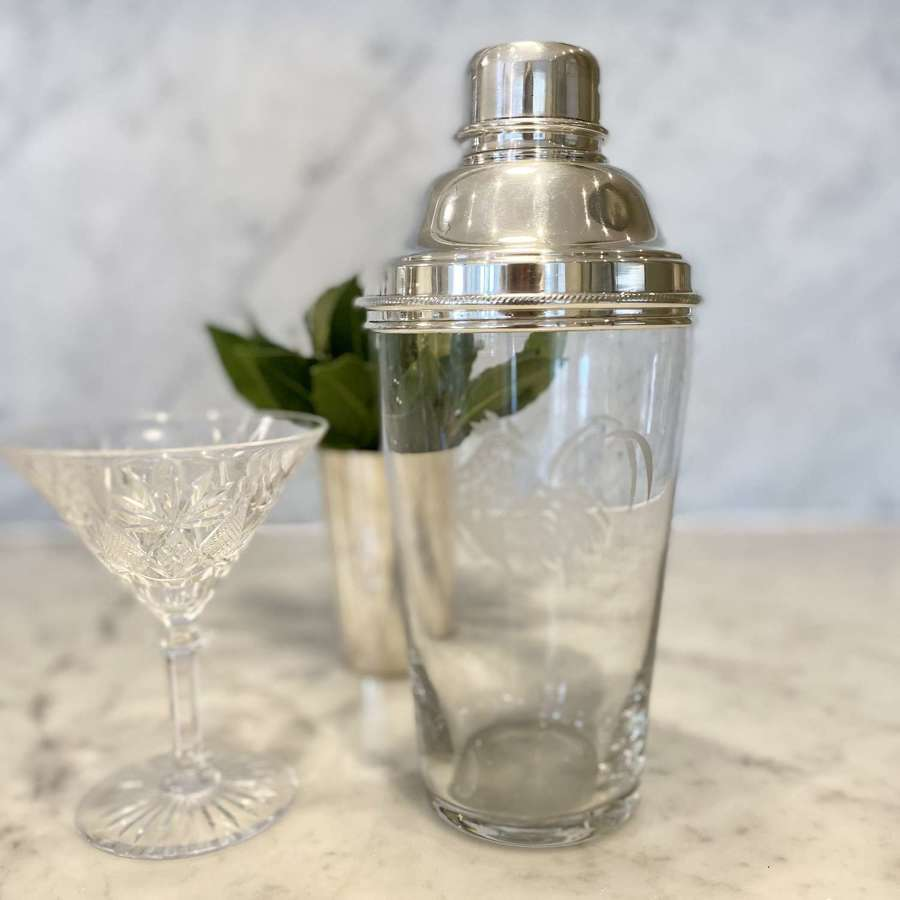 Superb large cockerel etched glass and silver plated cocktail shaker