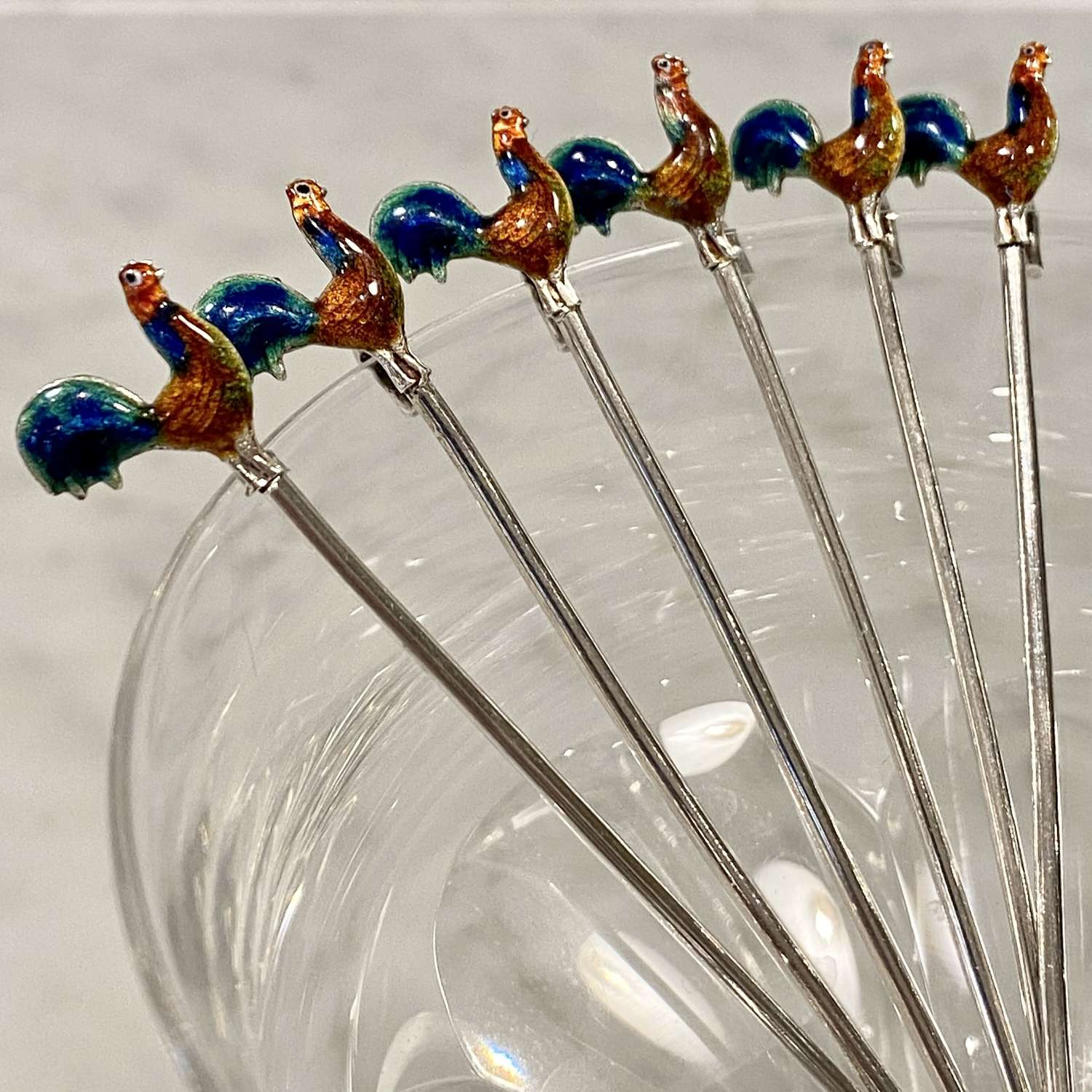 Beautifully enamelled silver cockerel cocktail sticks