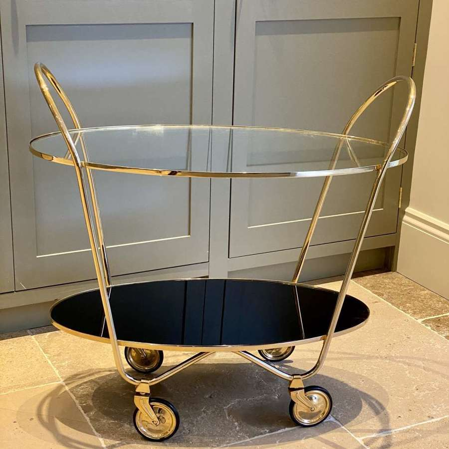 Excellent Italian twin handled oval cocktail trolley