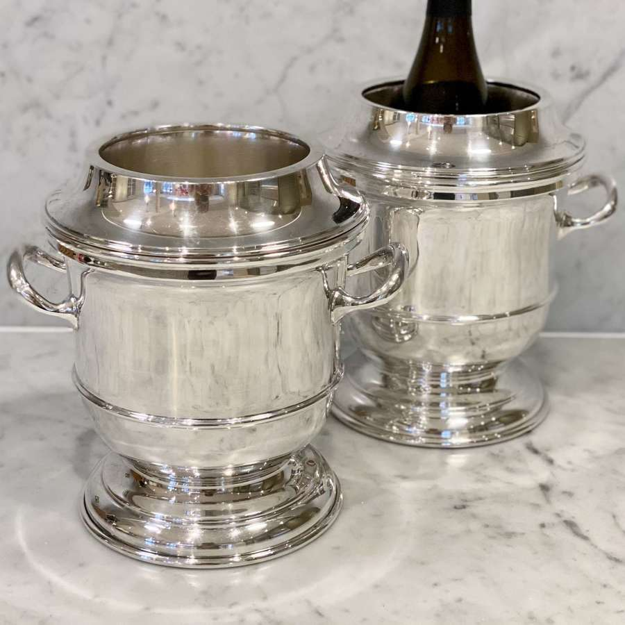 Superb pair of Art Deco silver plated wine coolers