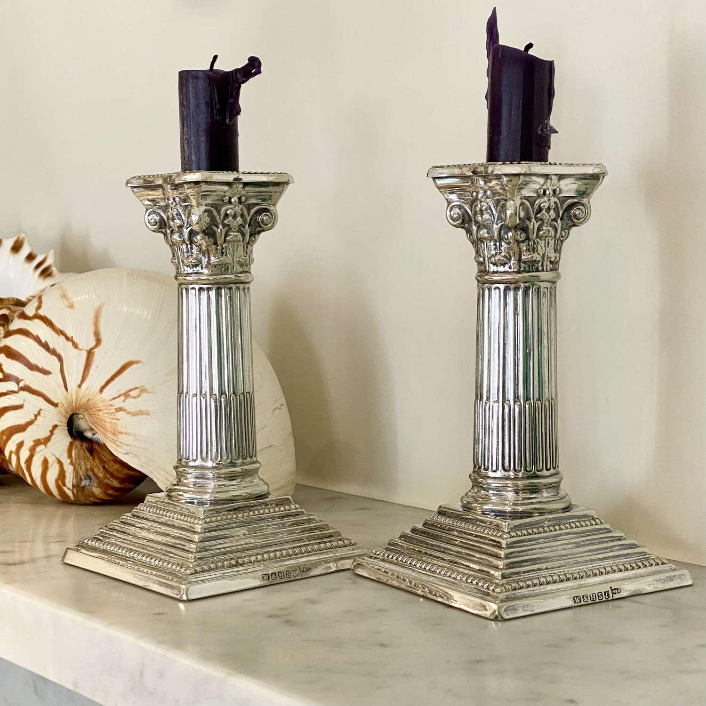 Classic pair of Victorian silver plated Corinthian column candlesticks