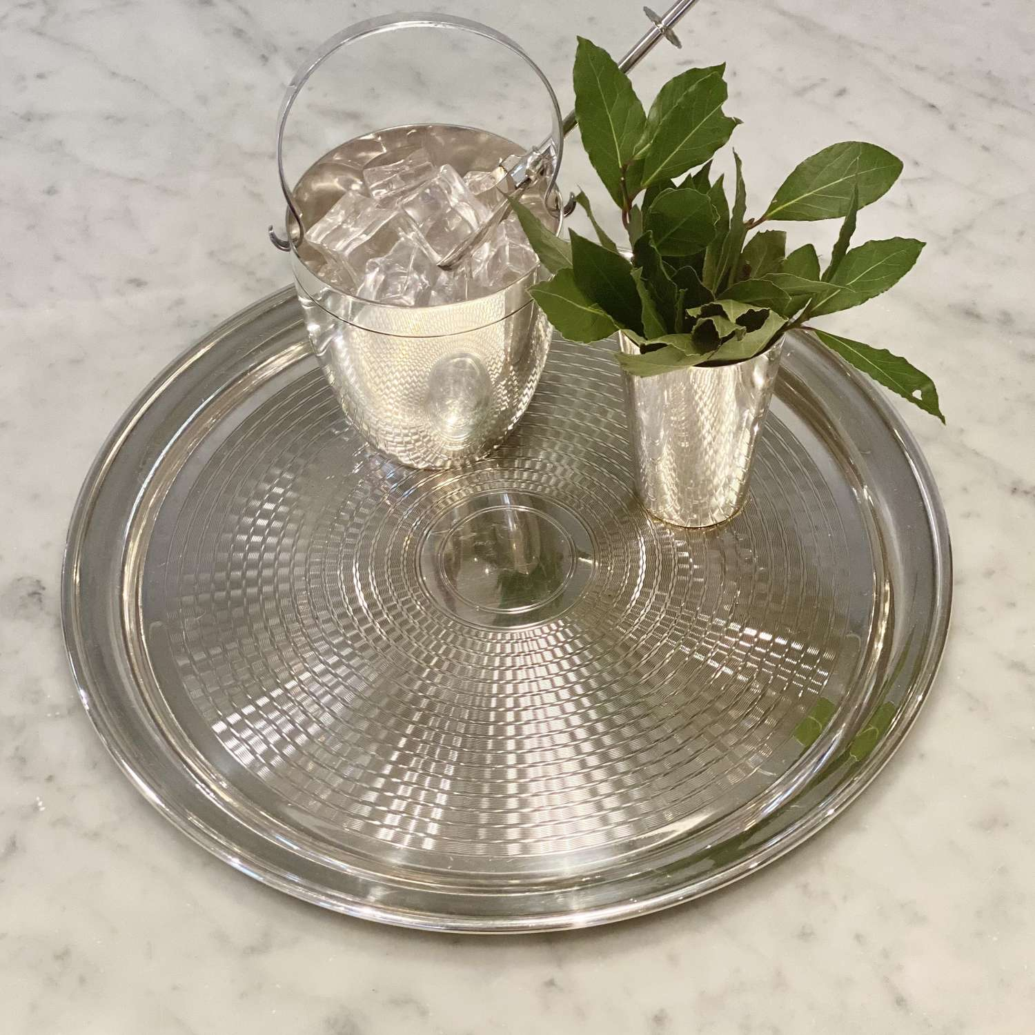 Art Deco engine turned silver plated round cocktail tray
