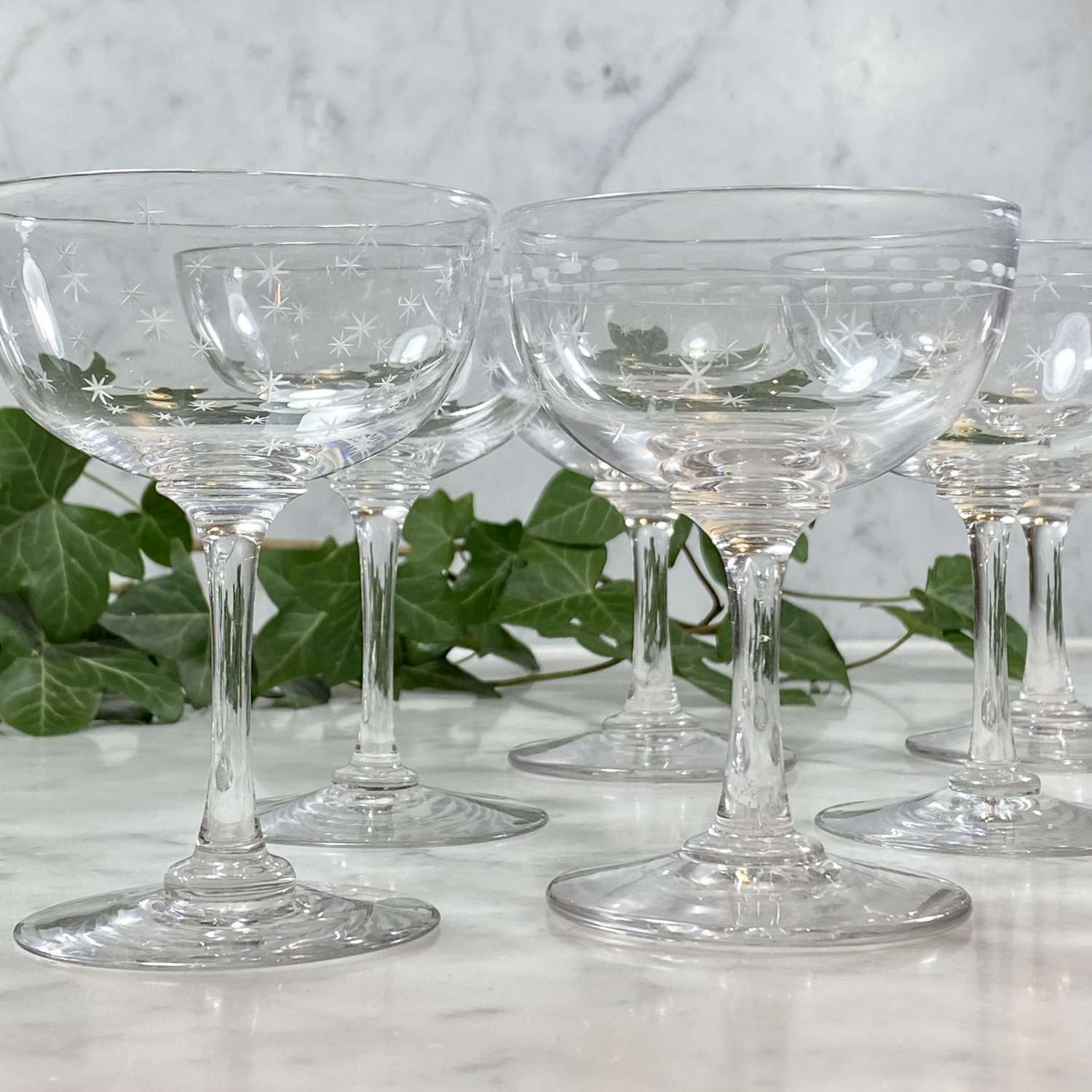Set of Victorian star etched champagne or cocktail coupes