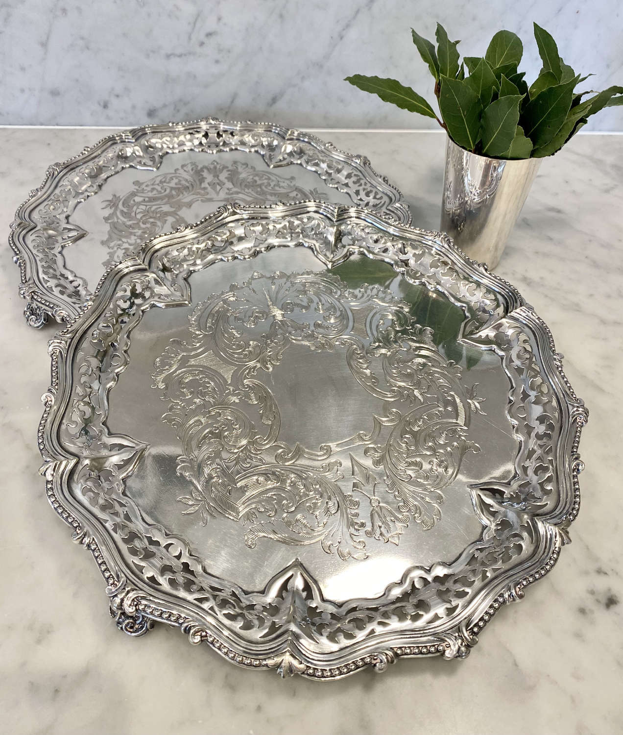 Beautious pair of Victorian silver plated round trays