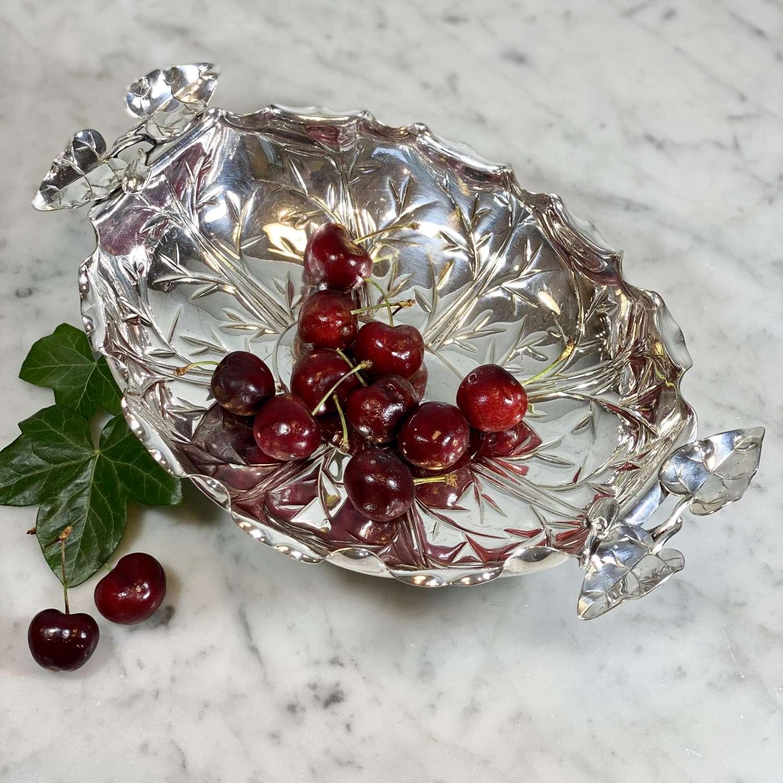 Dr Christopher Dresser aesthetic ivy leaf silver plated basket