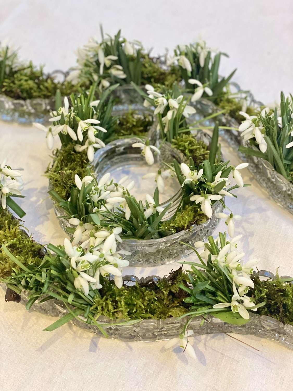 Val St Lambert crystal flower vase table centrepiece set