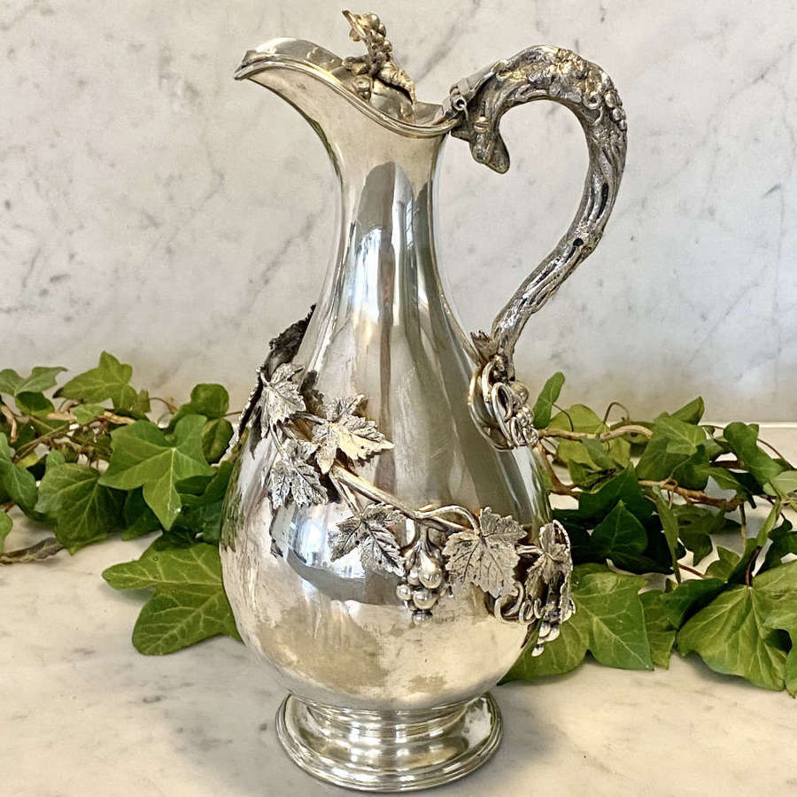 19th C silver plated vine leaf chilling wine ewer jug