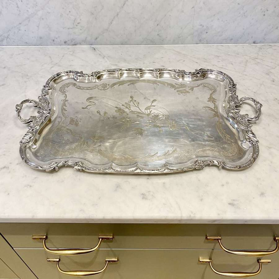 Wonderful flower and ribbon engraved silver plated serving tray