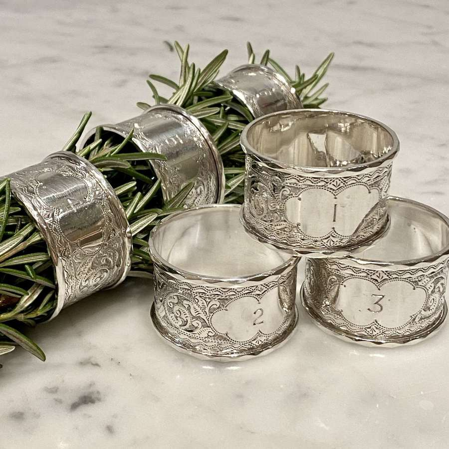 Victorian hallmarked solid silver numbered 1 to 6 napkin rings 1897