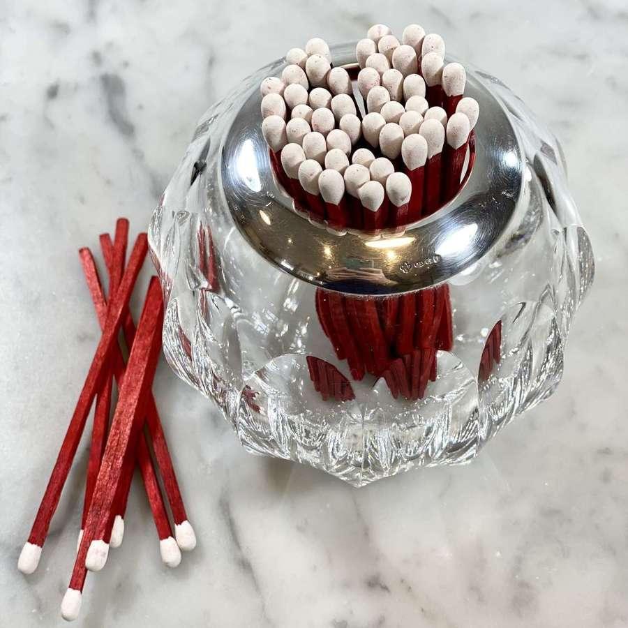 Large Asprey silver & cut glass match holder or posy vase