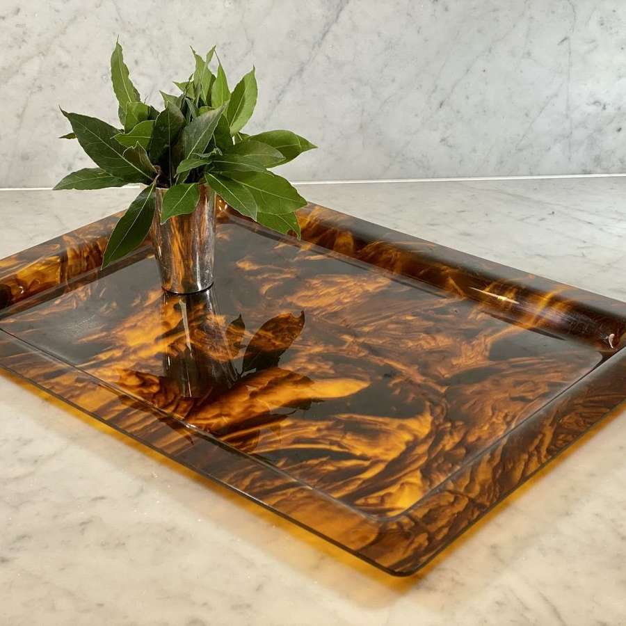 Giant faux tortoiseshell lucite serving tray attributed Christian Dior