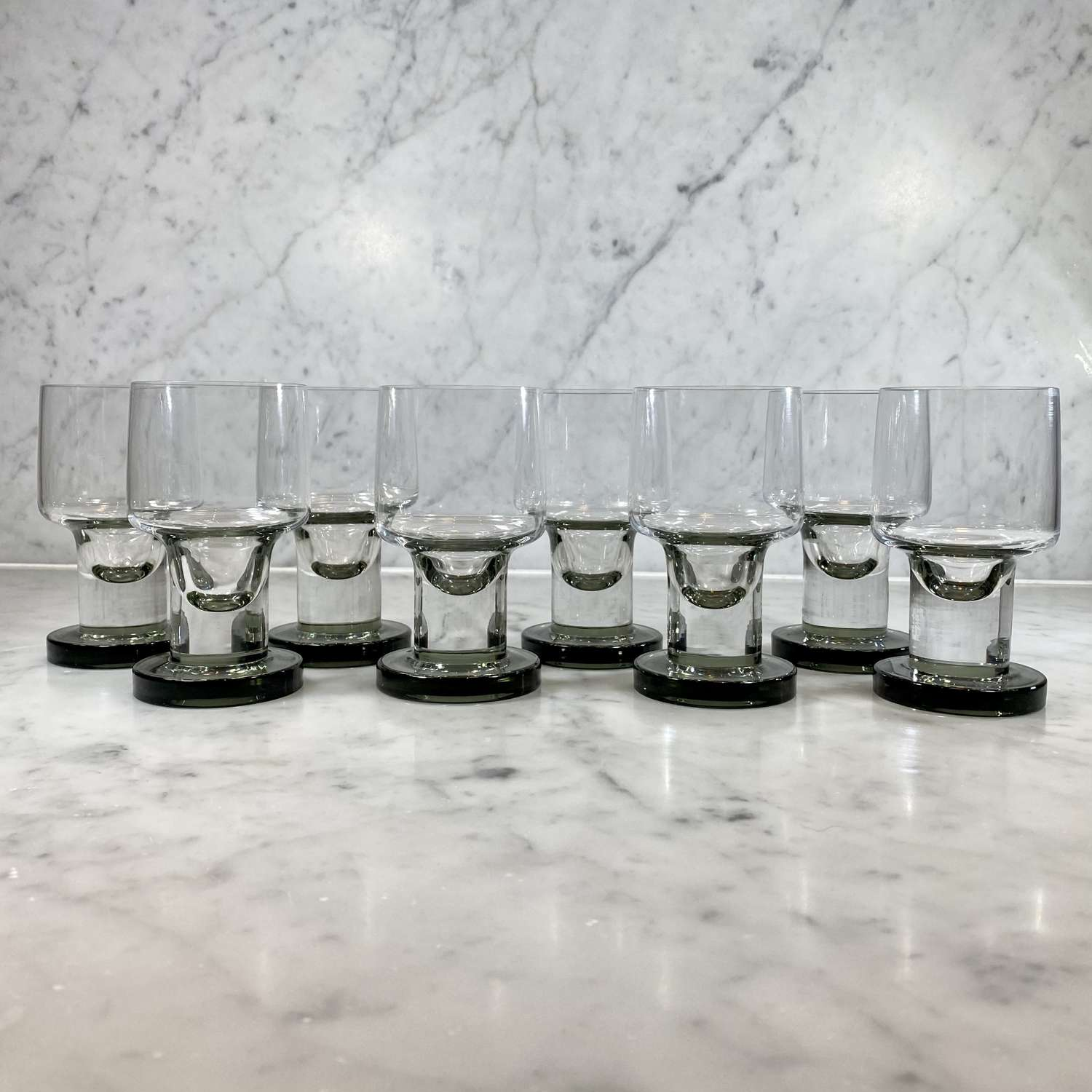 Superb set of Mid Cent French crystal wine glasses