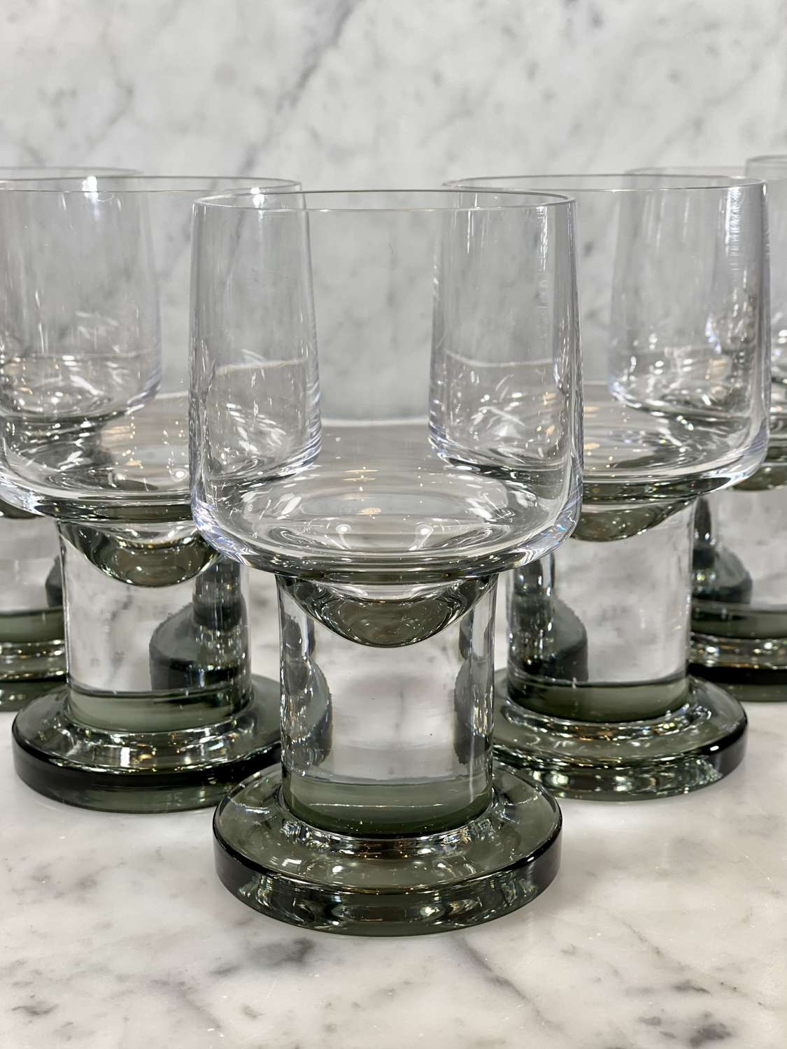 Superb set of French smoked crystal giant goblets