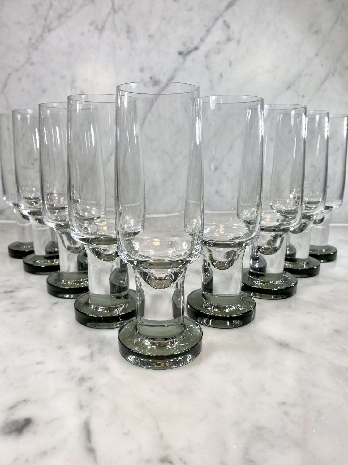Superb Mid Cent French crystal champange flutes