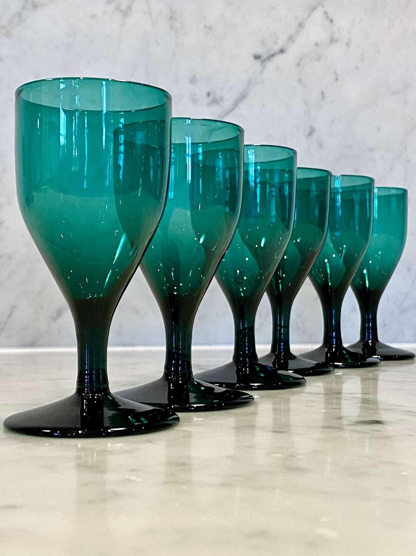Georgian Bristol green hand blown wine glasses