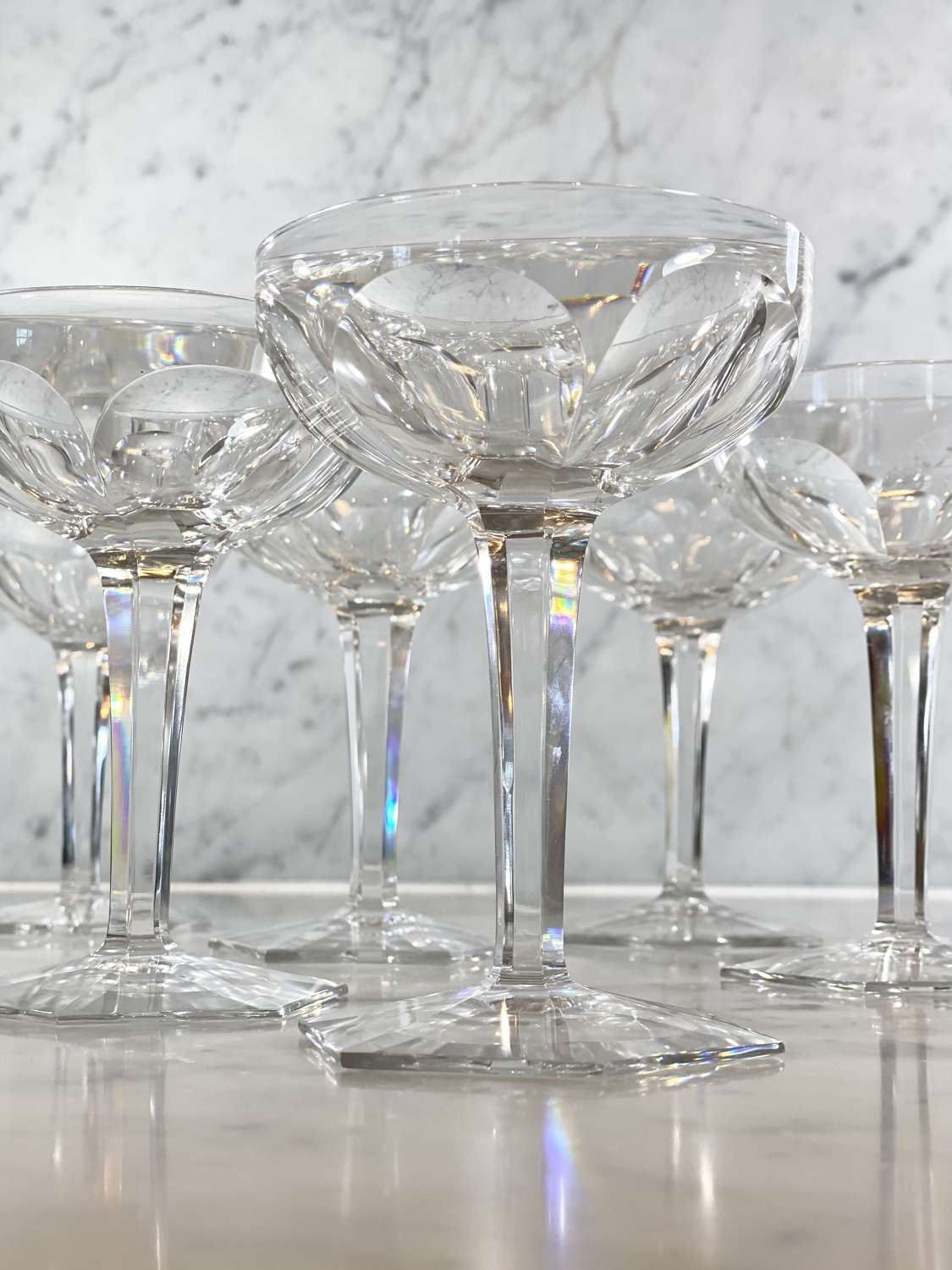 6 Art Deco Baccarat crystal champagne or cocktail coupes
