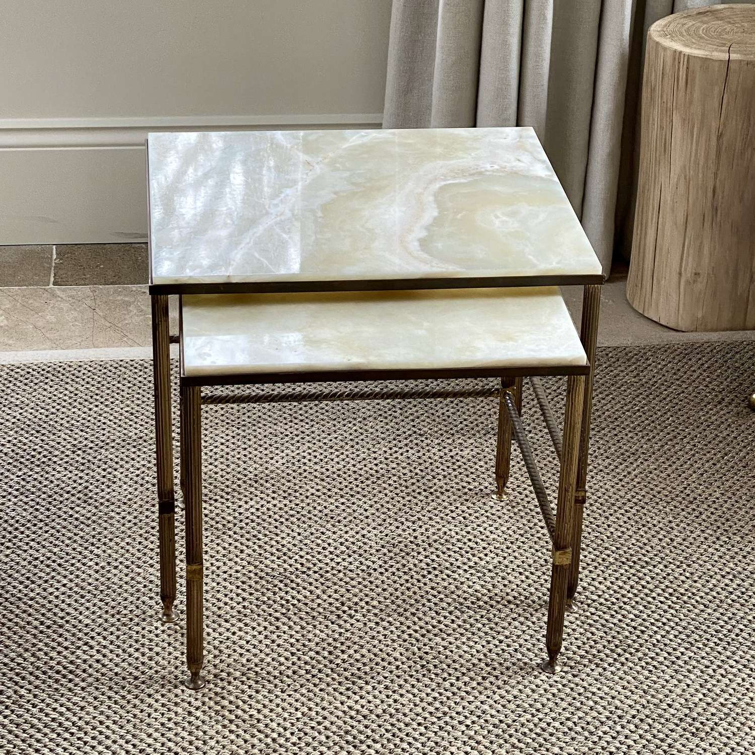 Superb quality onyx and brass side table nest