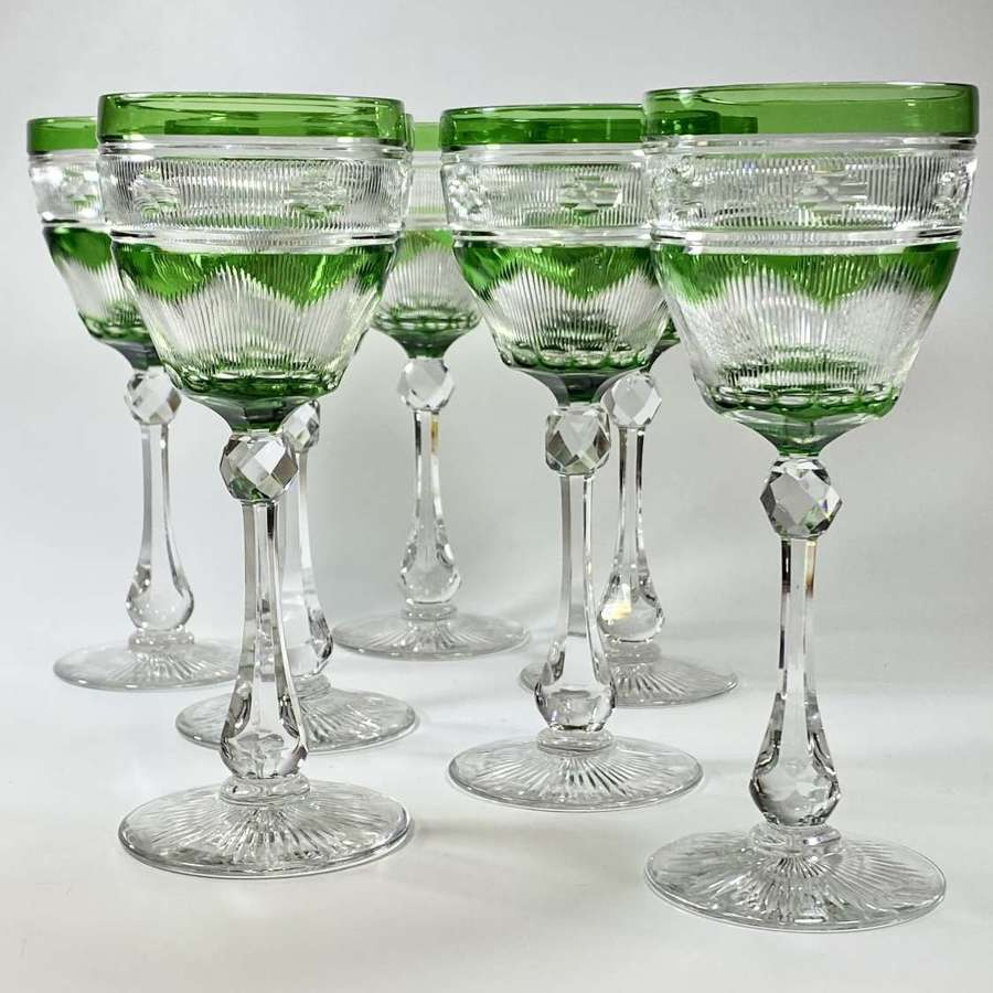 Exceptional set of Victorian cut to clear crystal wine glasses