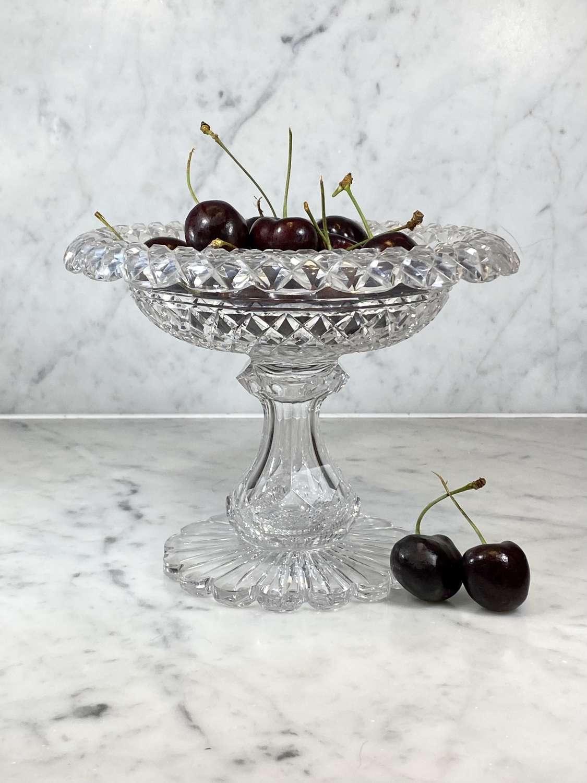 Irish Victorian crystal Tazza or Comport pedestal dish Circa 1800s