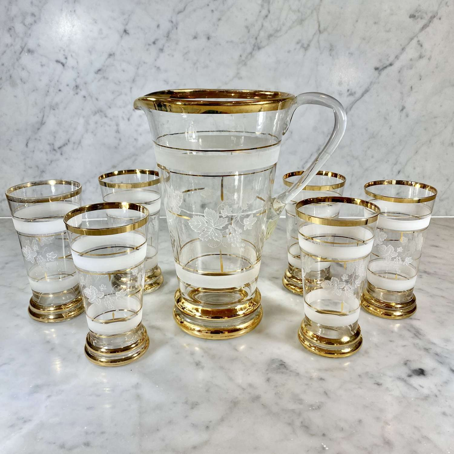 Mid 20th Century gold plated glass lemonade or cocktail jug set