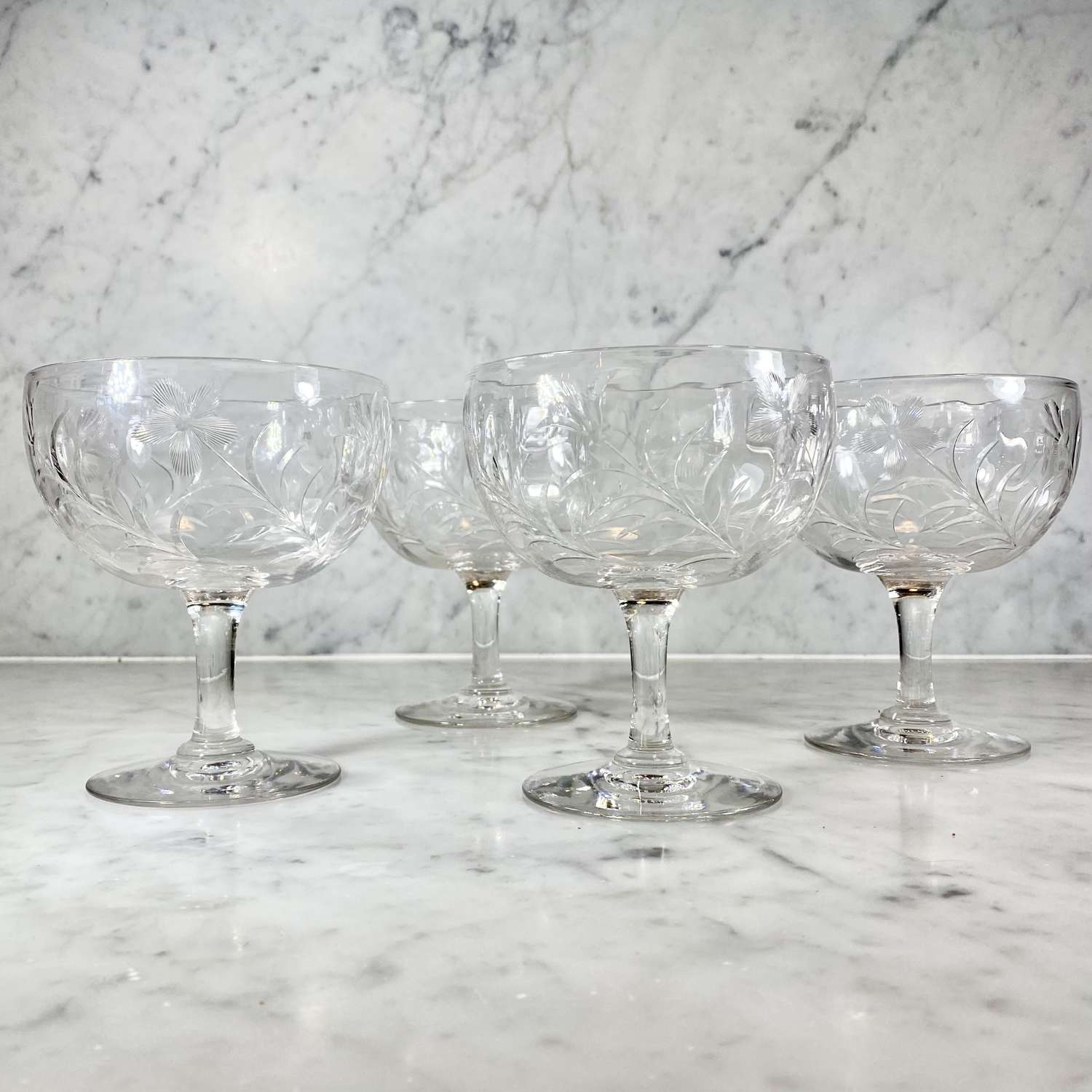 Extremely rare 19th century cut glass gin balloon Rummers
