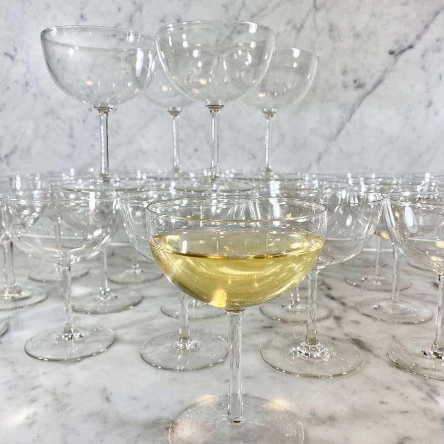Rare set of 29 Edwardian mouth blown champagne or cocktail coupes
