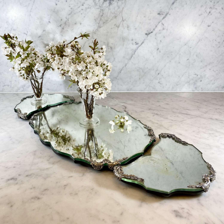 Italian silver triple mirror plateau table centrepiece
