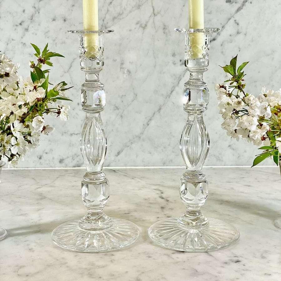 Gorgeous Georgian style lead crystal tall candlesticks