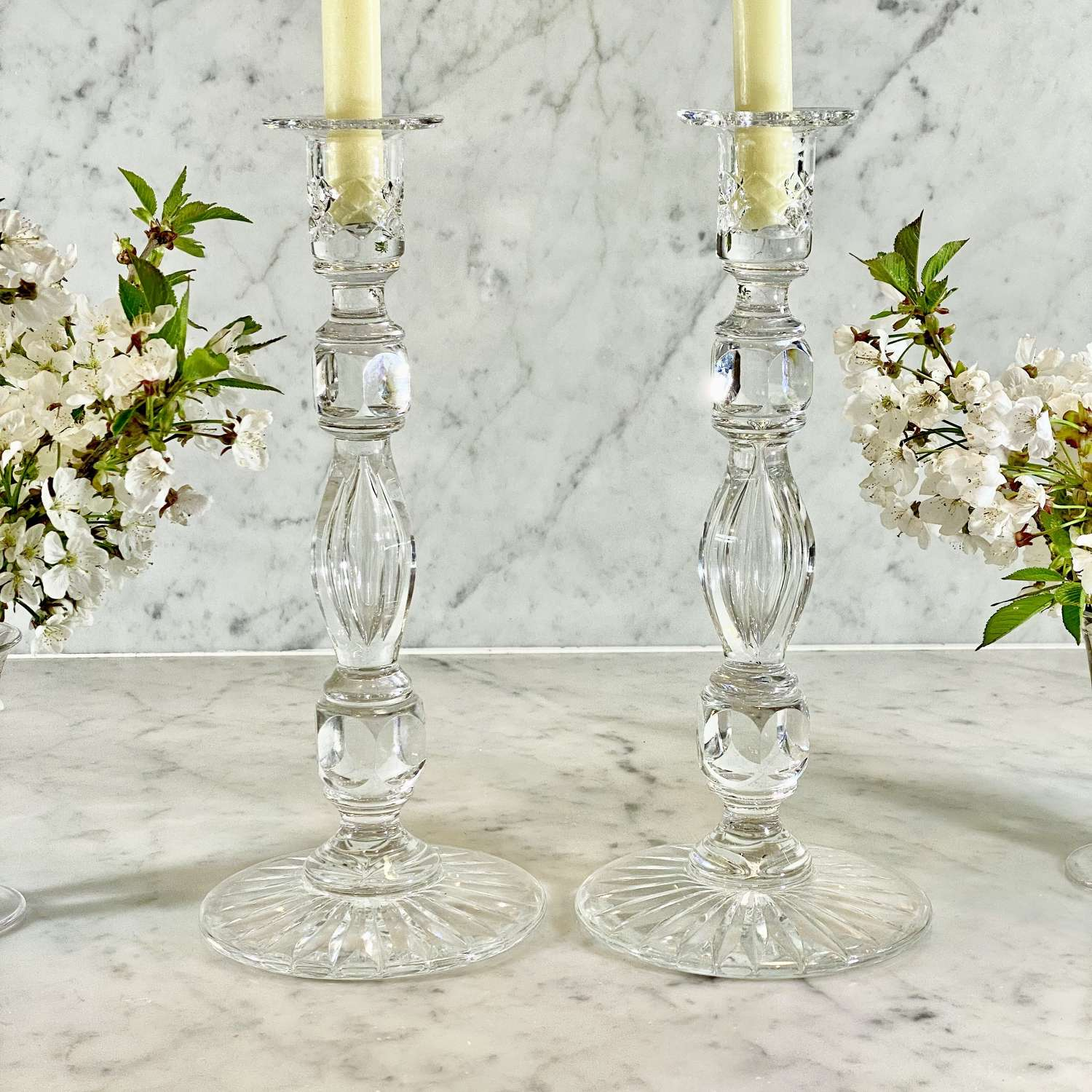Gorgeous Georgian style lead crystal tall candlesticks