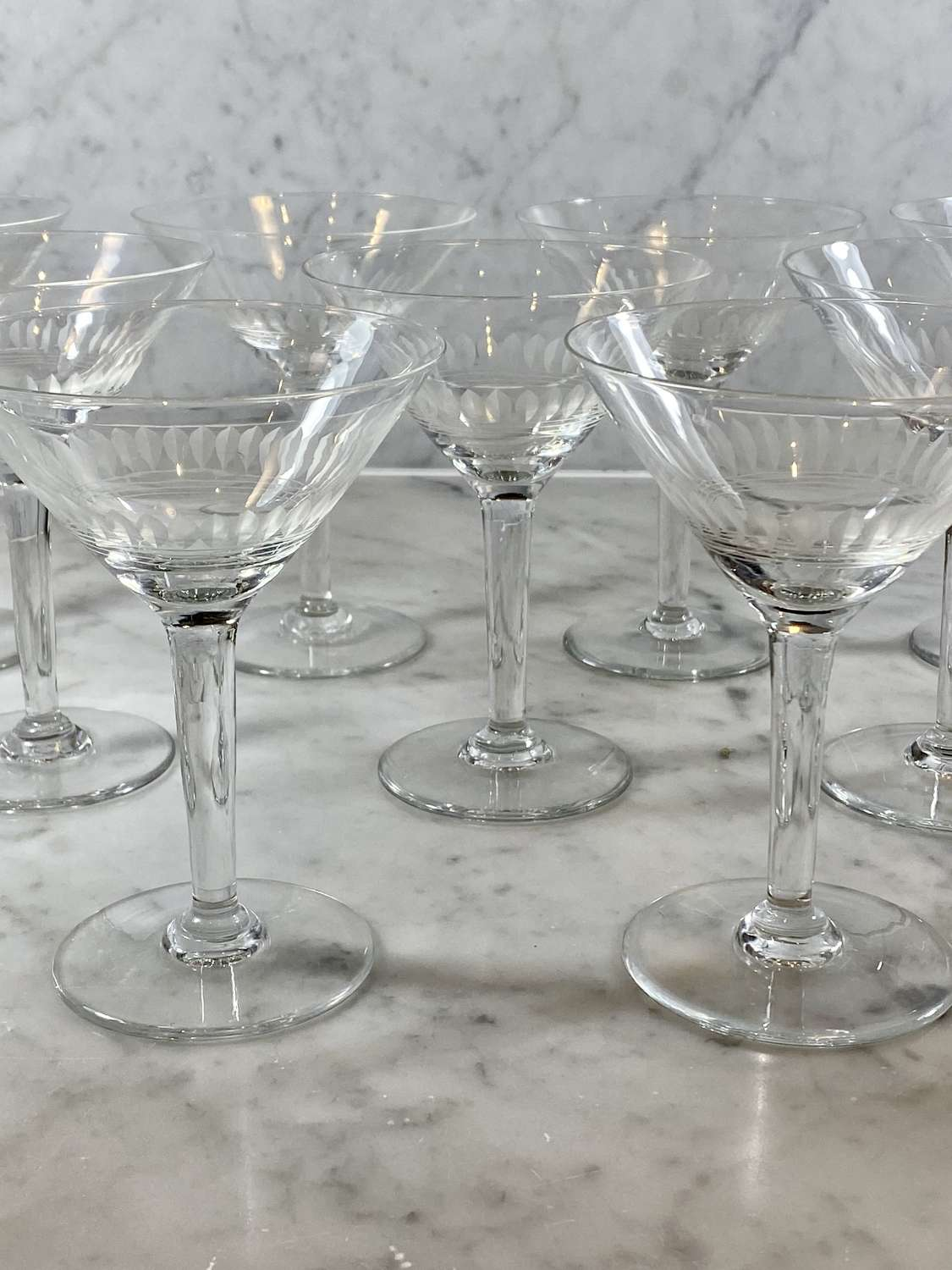 Set of 9 pretty etched crystal Martini cocktail glasses