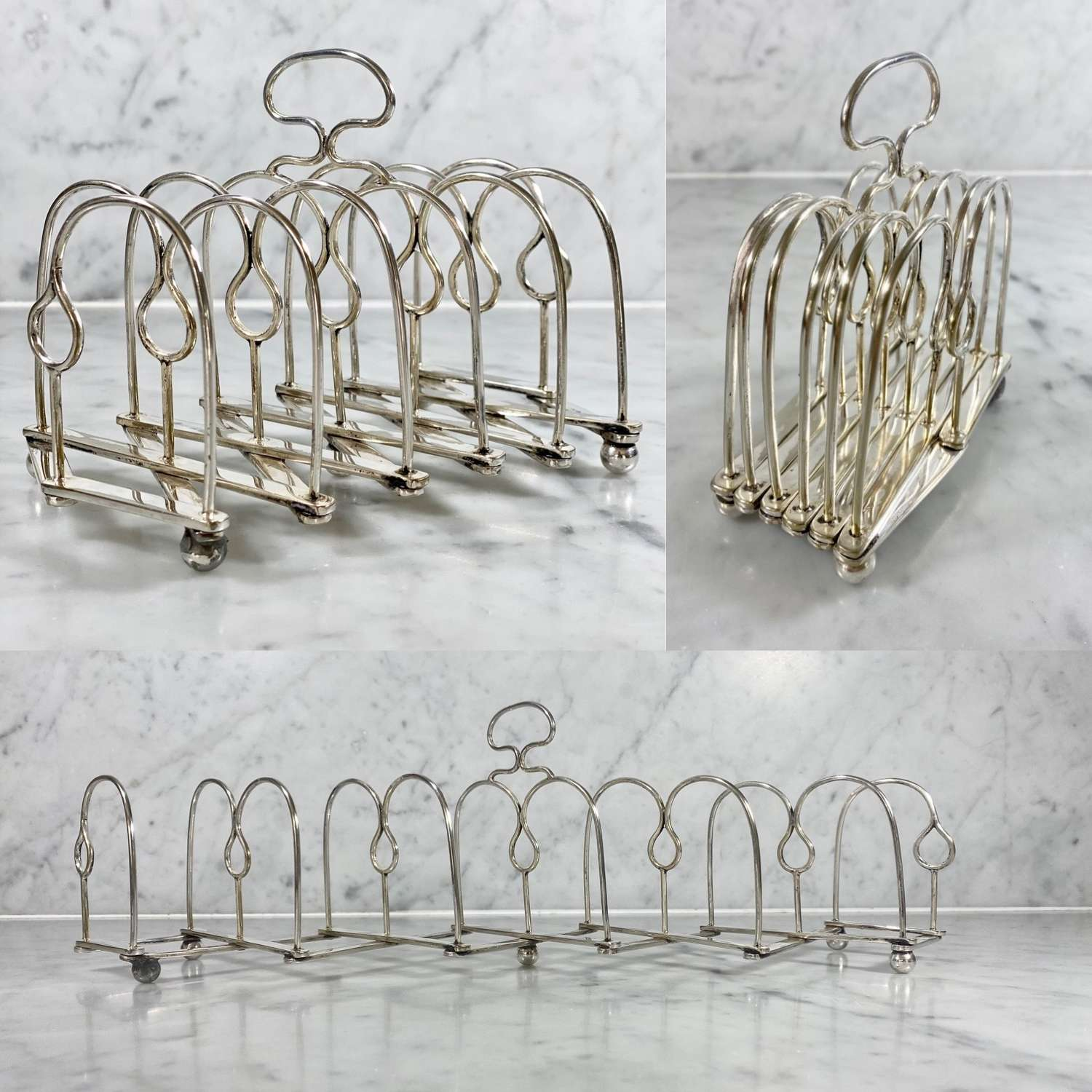 Unusual Victorian expanding silver plated toast rack