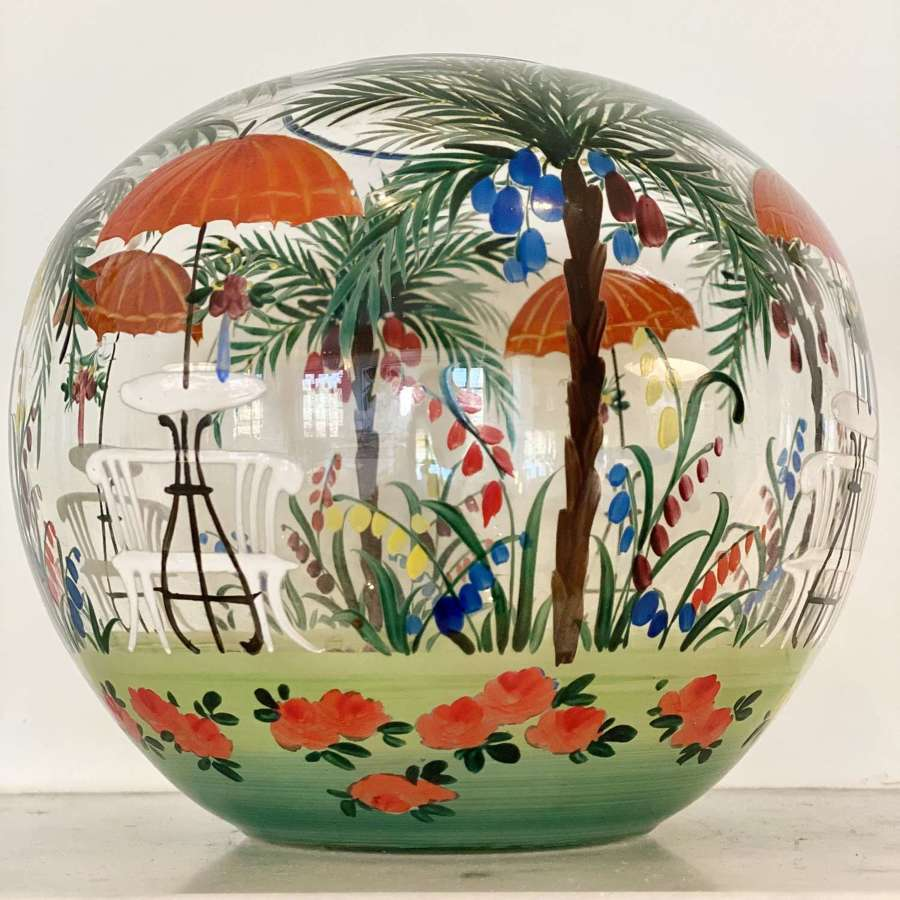 Art Deco hand painted French Riviera garden globe vase