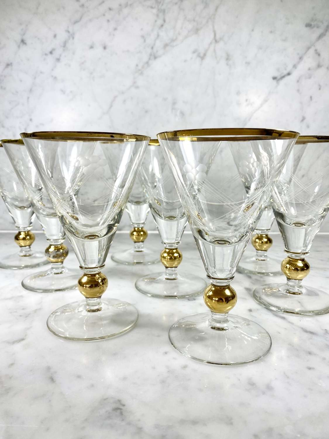 8 Art Deco French gold and geometric etched cocktail glasses