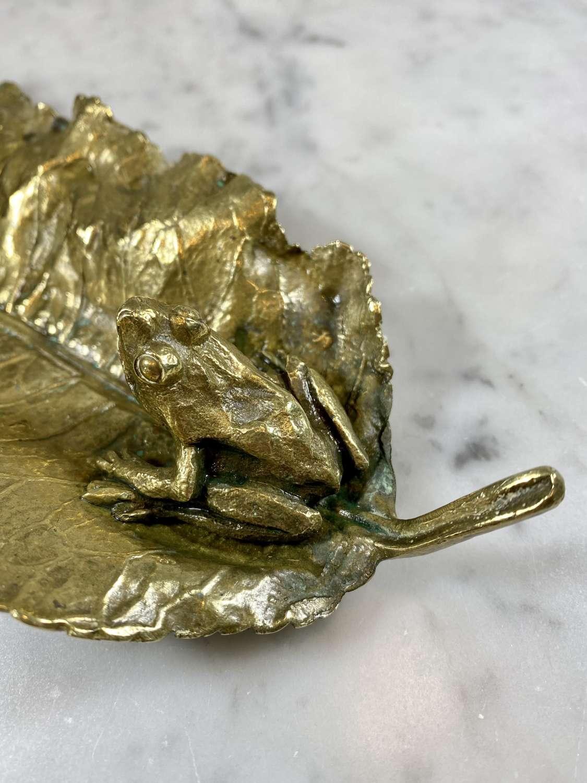 Unusual antique ormolu frog on large leaf serving dish