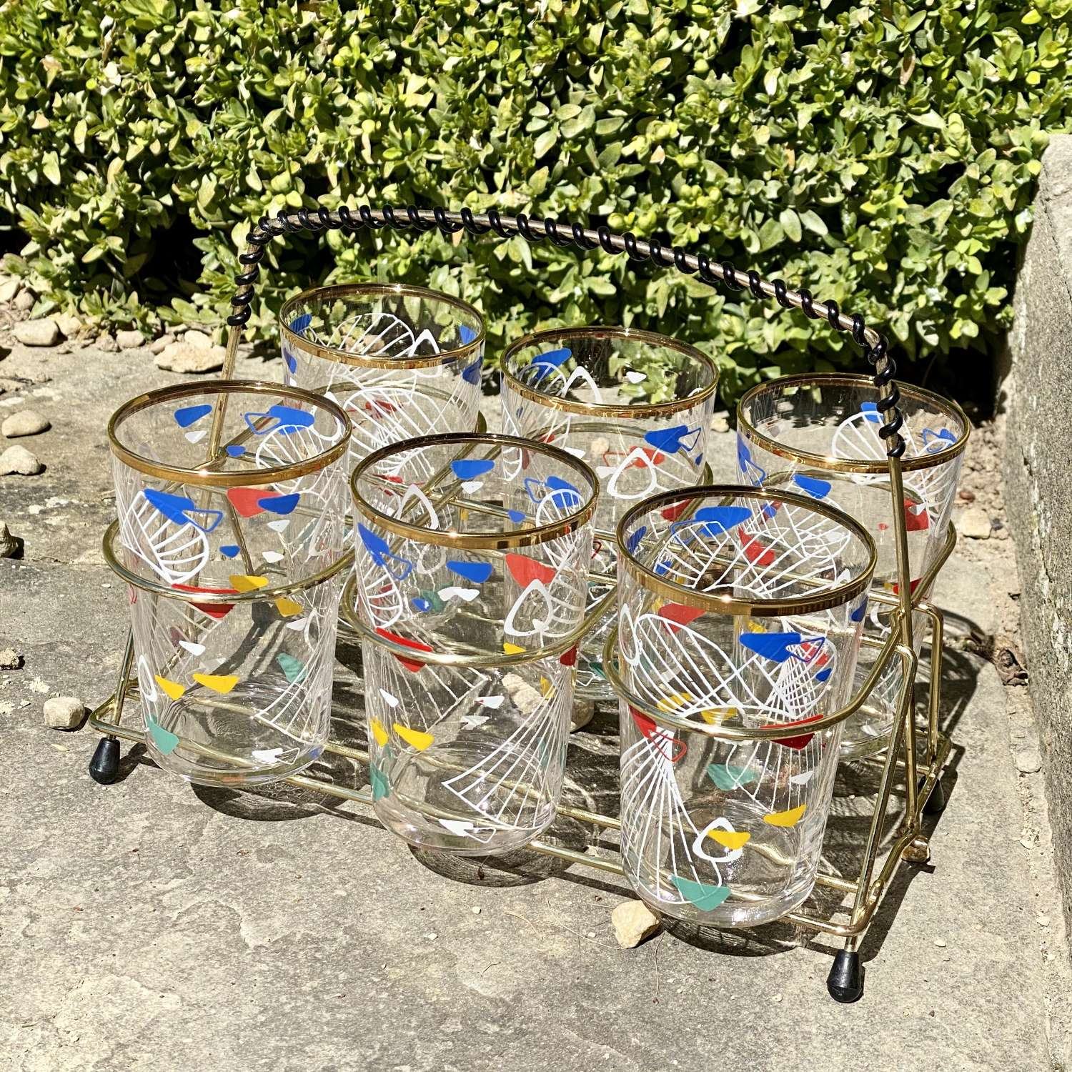 1950s glass bar tumblers in carrying caddy
