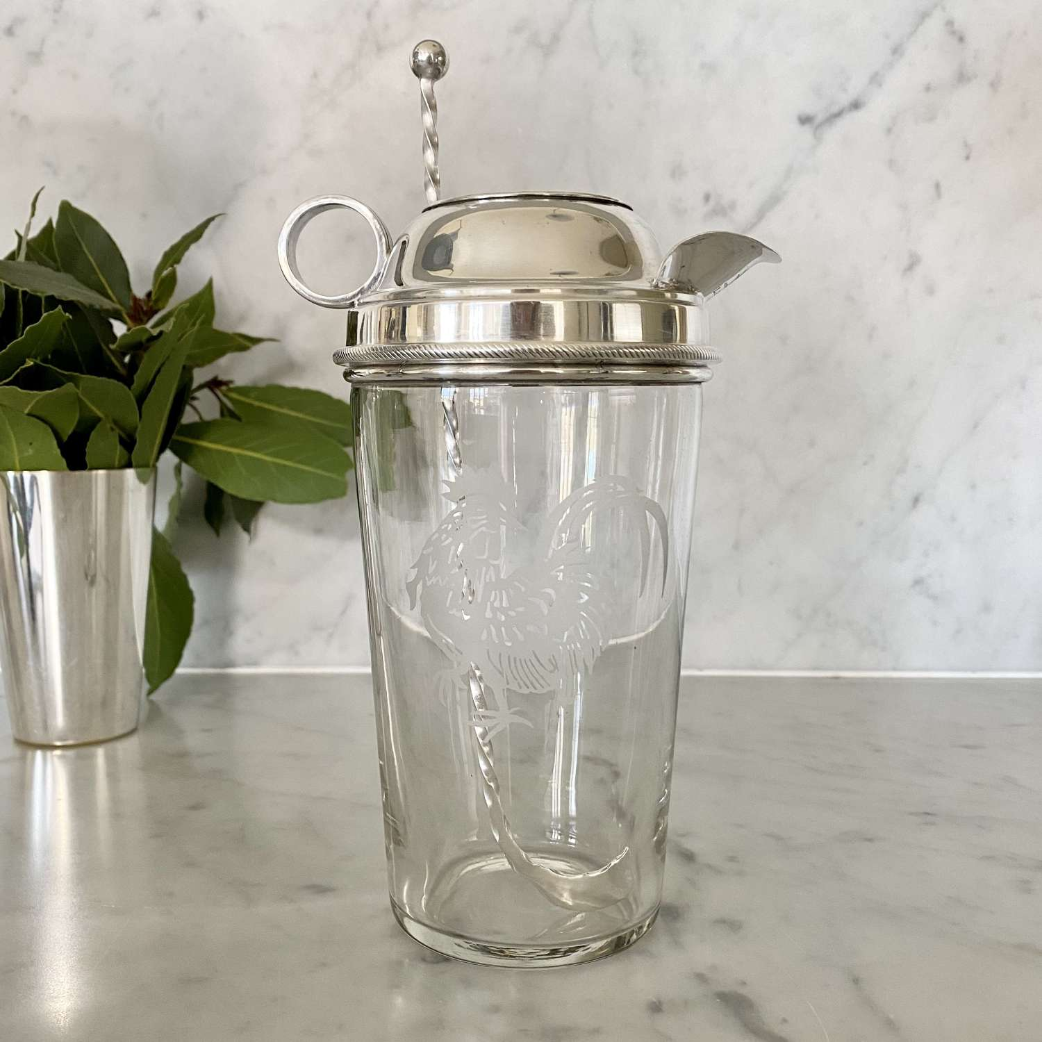 Cockerel etched glass & silver plated cocktail mixing jug 1930s