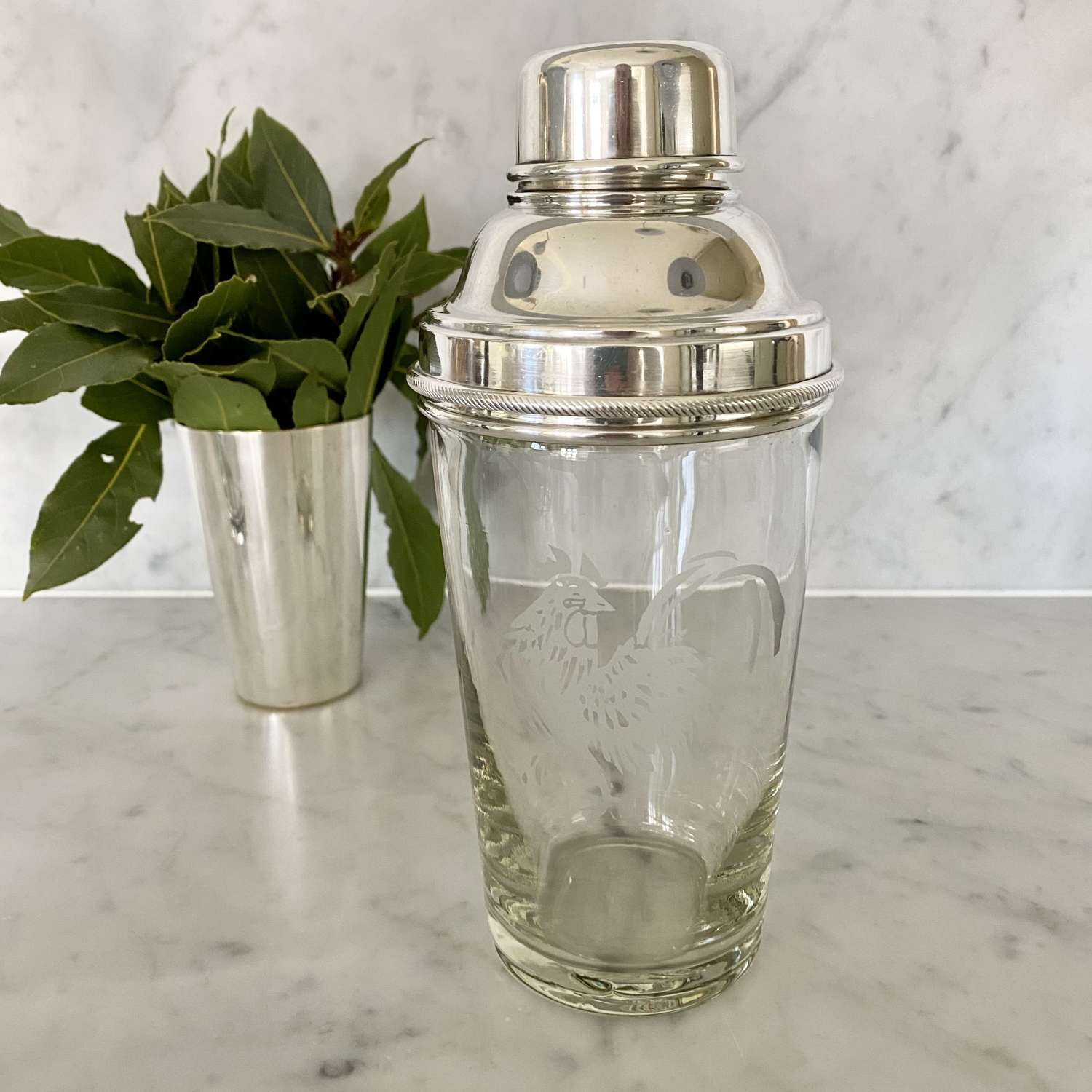 Art Deco cockerel etched silver plated cocktail shaker