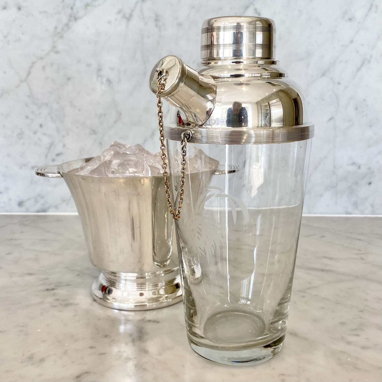 Large cockerel etched glass silver plated side spout cocktail shaker