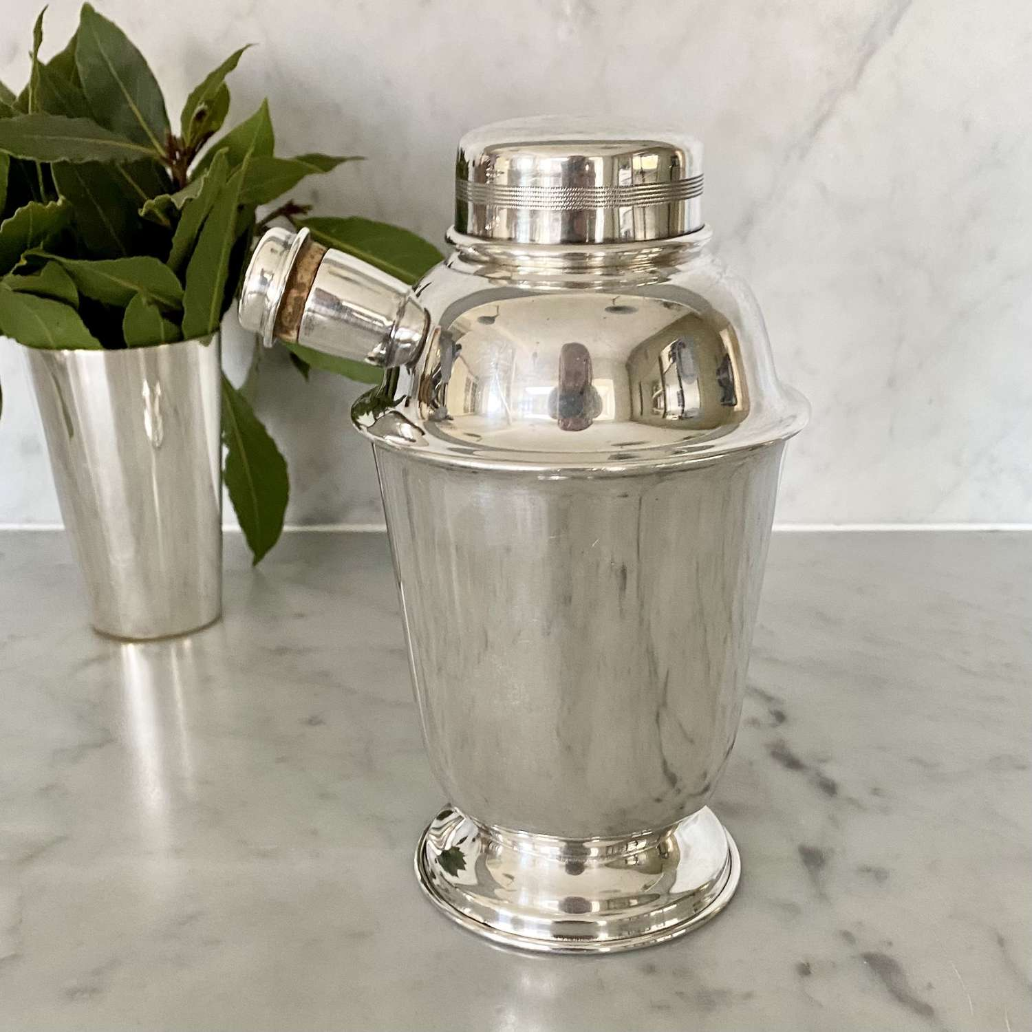 English Art Deco silver plated side spout cocktail shaker