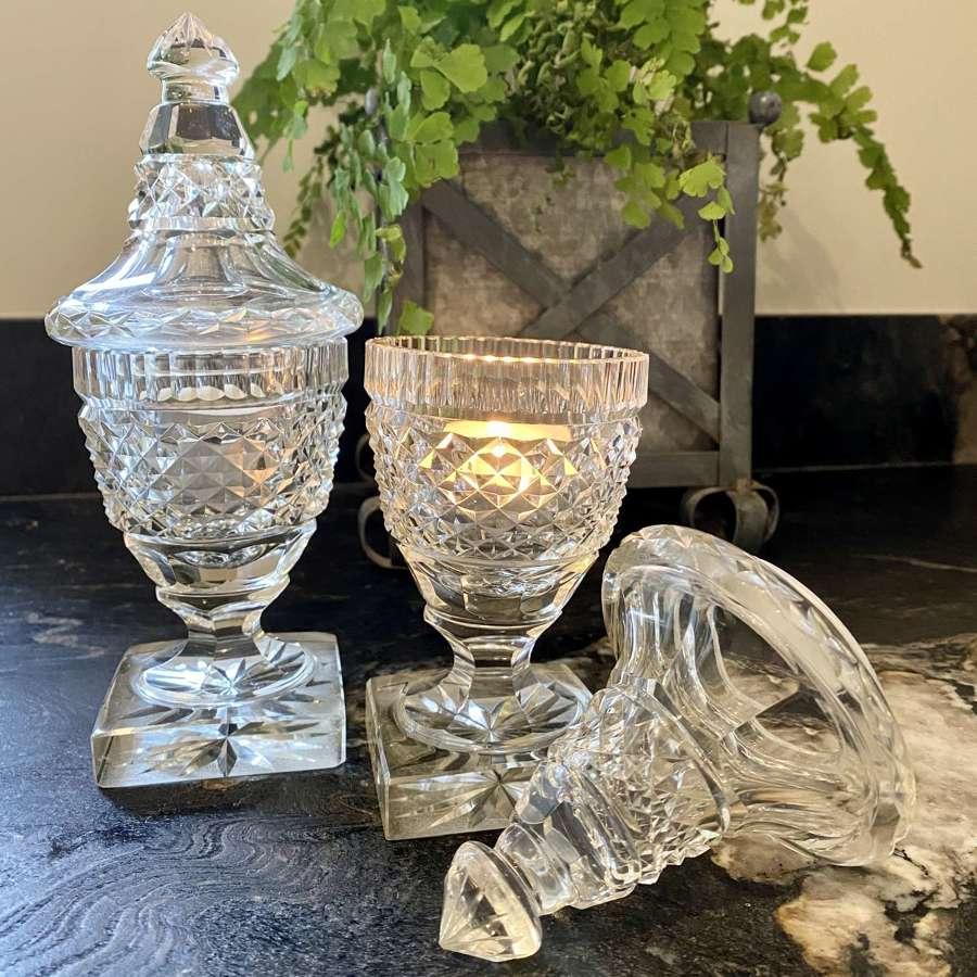 Georgian Anglo Irish cut glass preserve pots and lids tea light holder