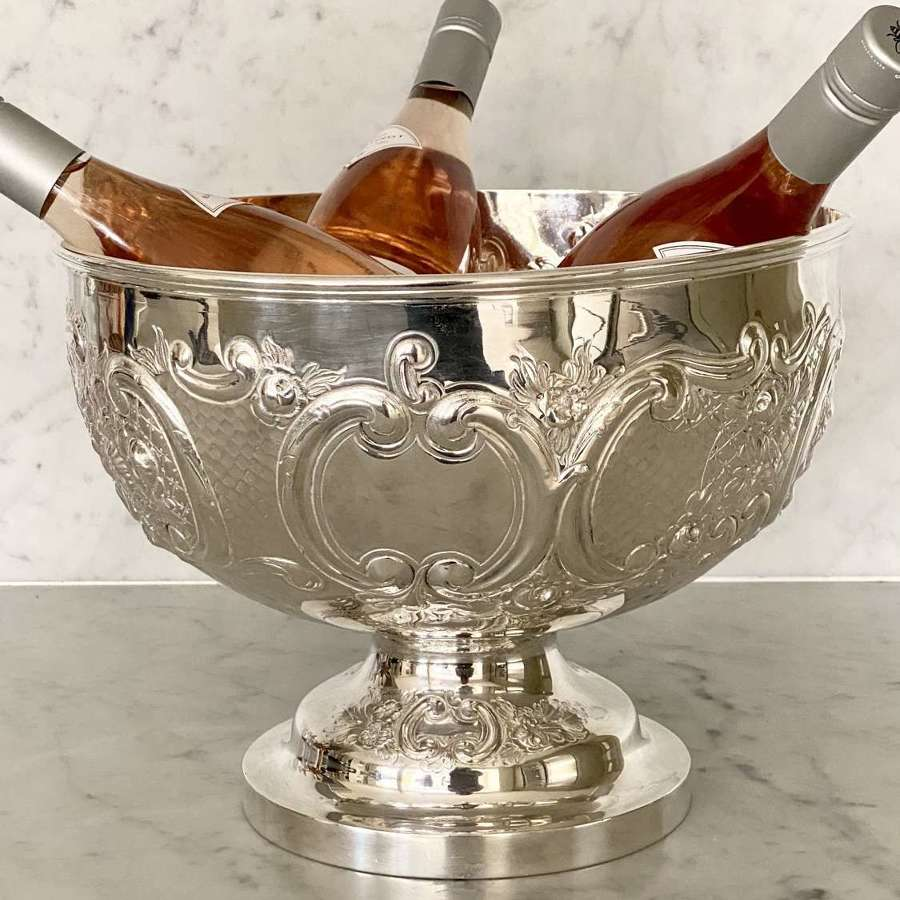Edwardian silver plated wine cooler punch bowl by Mappin & Webb