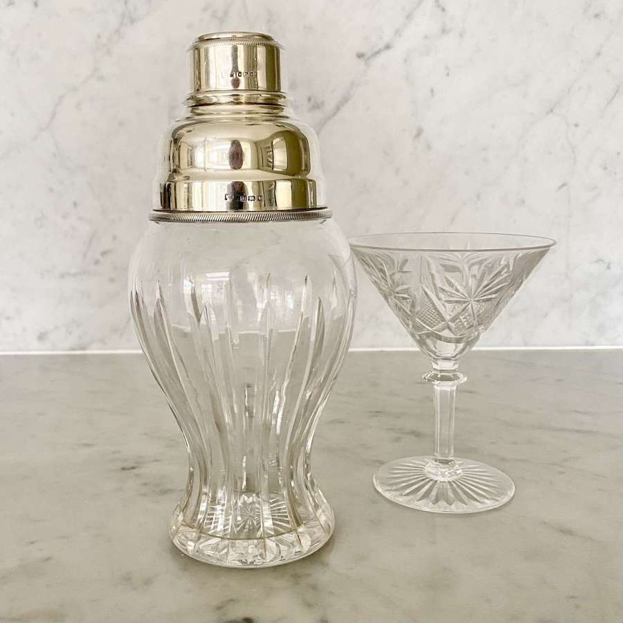 Art Deco sterling silver & glass cocktail shaker by Mappin & Webb 1925