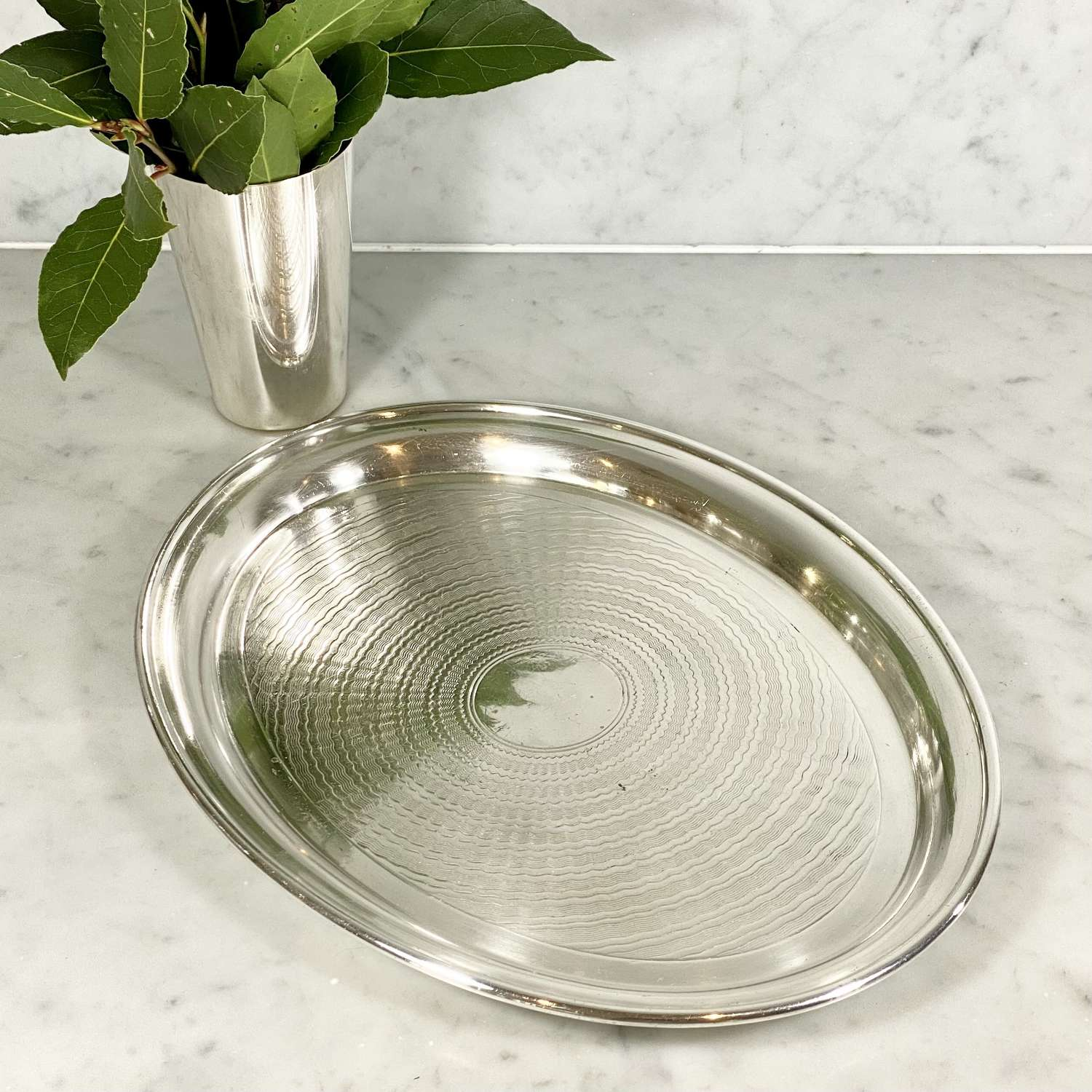 English Art Deco silver plated engine turned oval cocktail tray