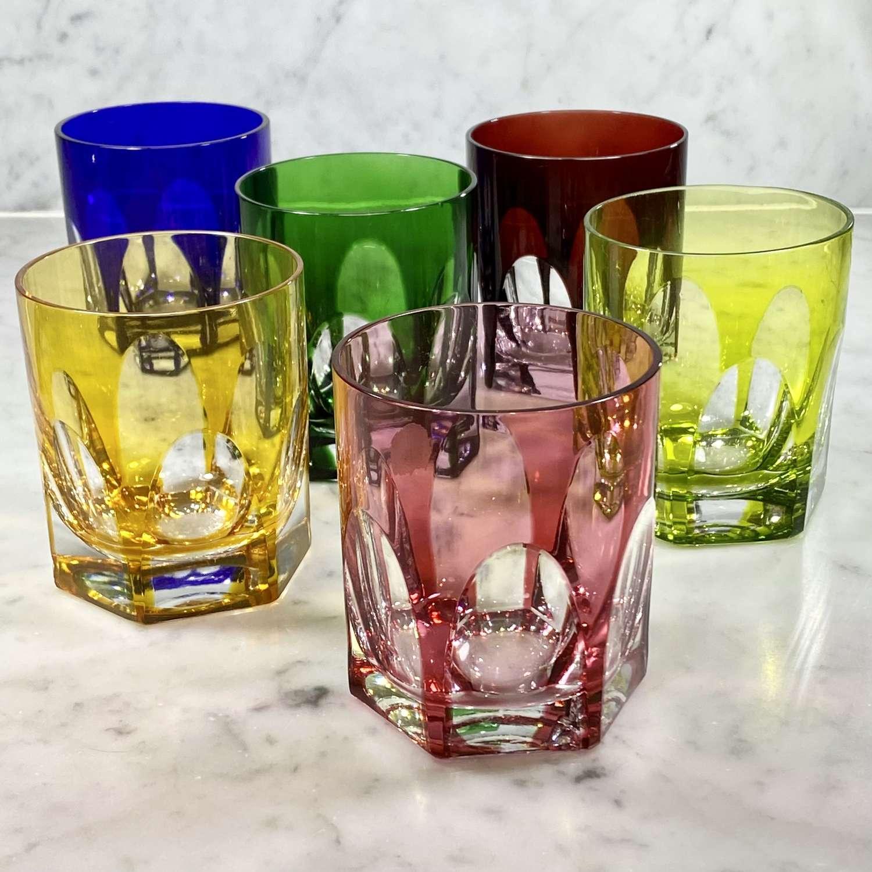 Harlequin set Val Saint Lambert coloured crystal tumblers
