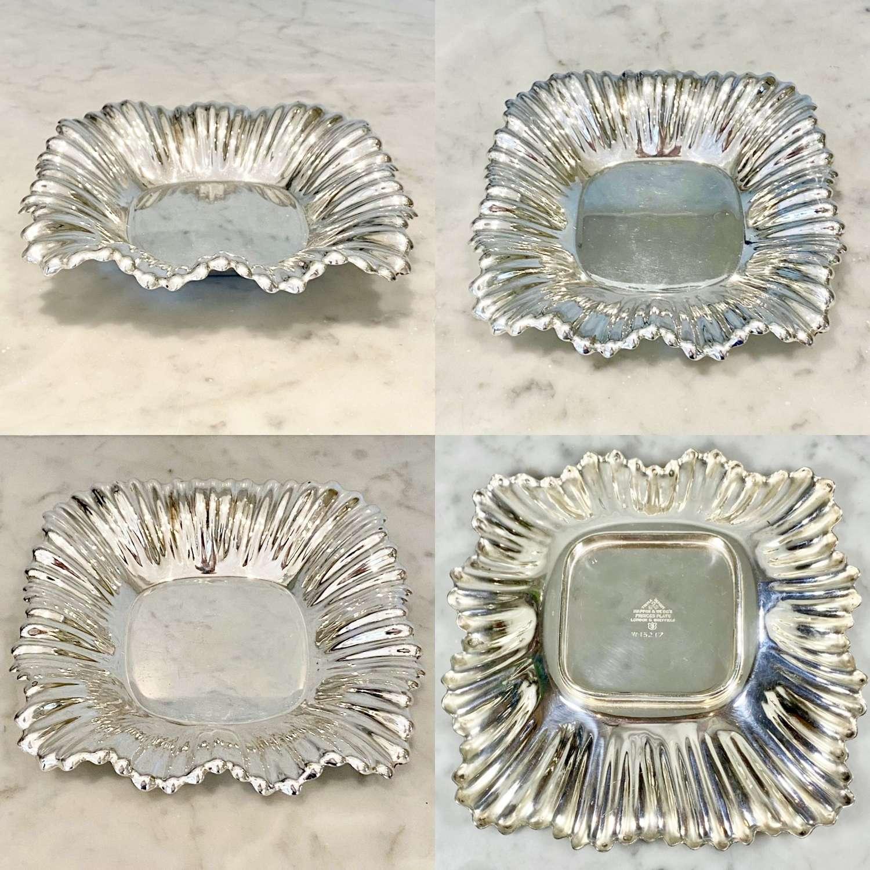 Pretty Mappin & Webb ruffle rim silver plated square dish