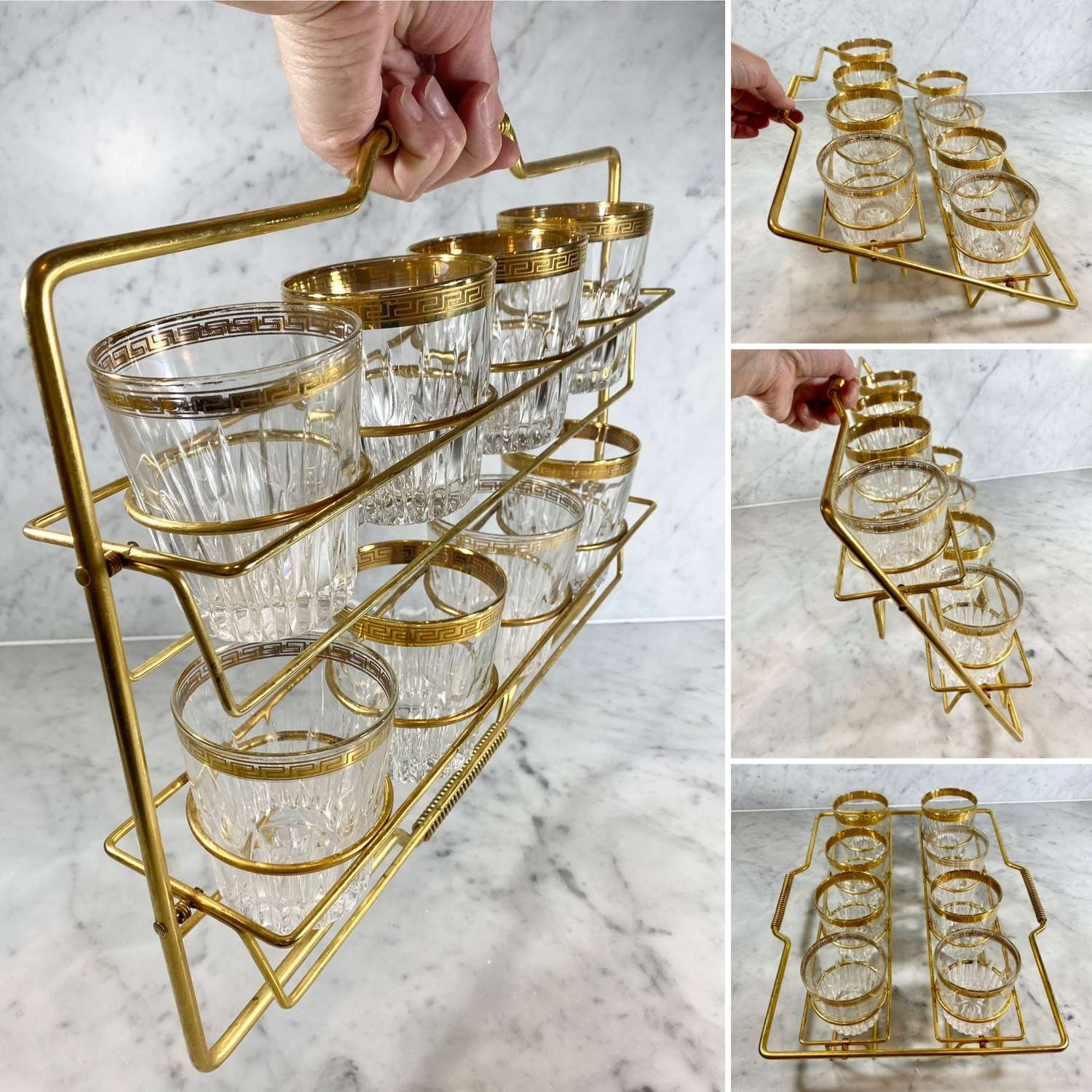 Superb Mid Century collapsible carrying bar caddy