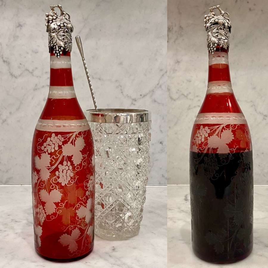 Victorian silver collared ruby glass etched decanter